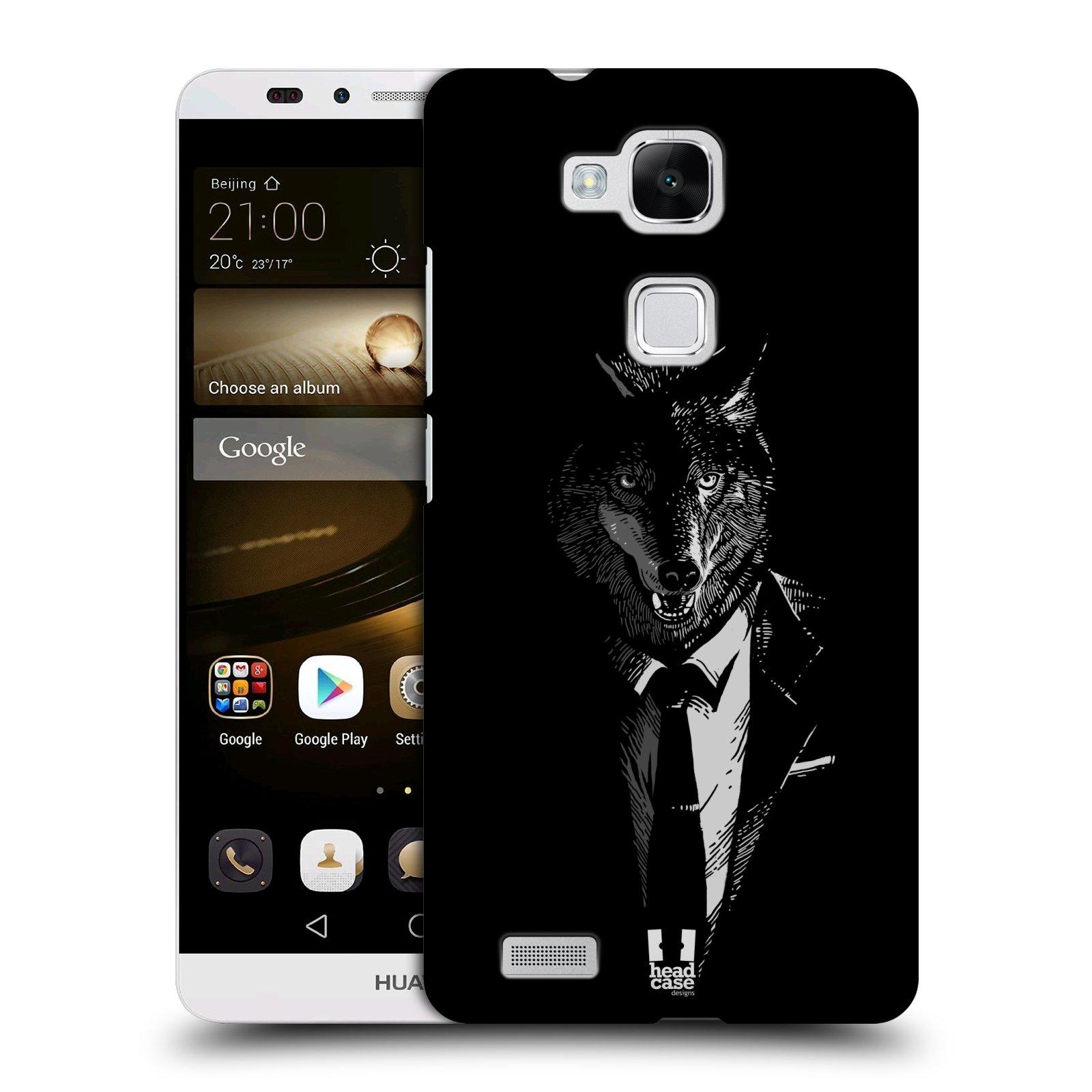 HEAD CASE plastový obal na mobil Huawei Mate 7 vzor Zvíře v obleku vlk