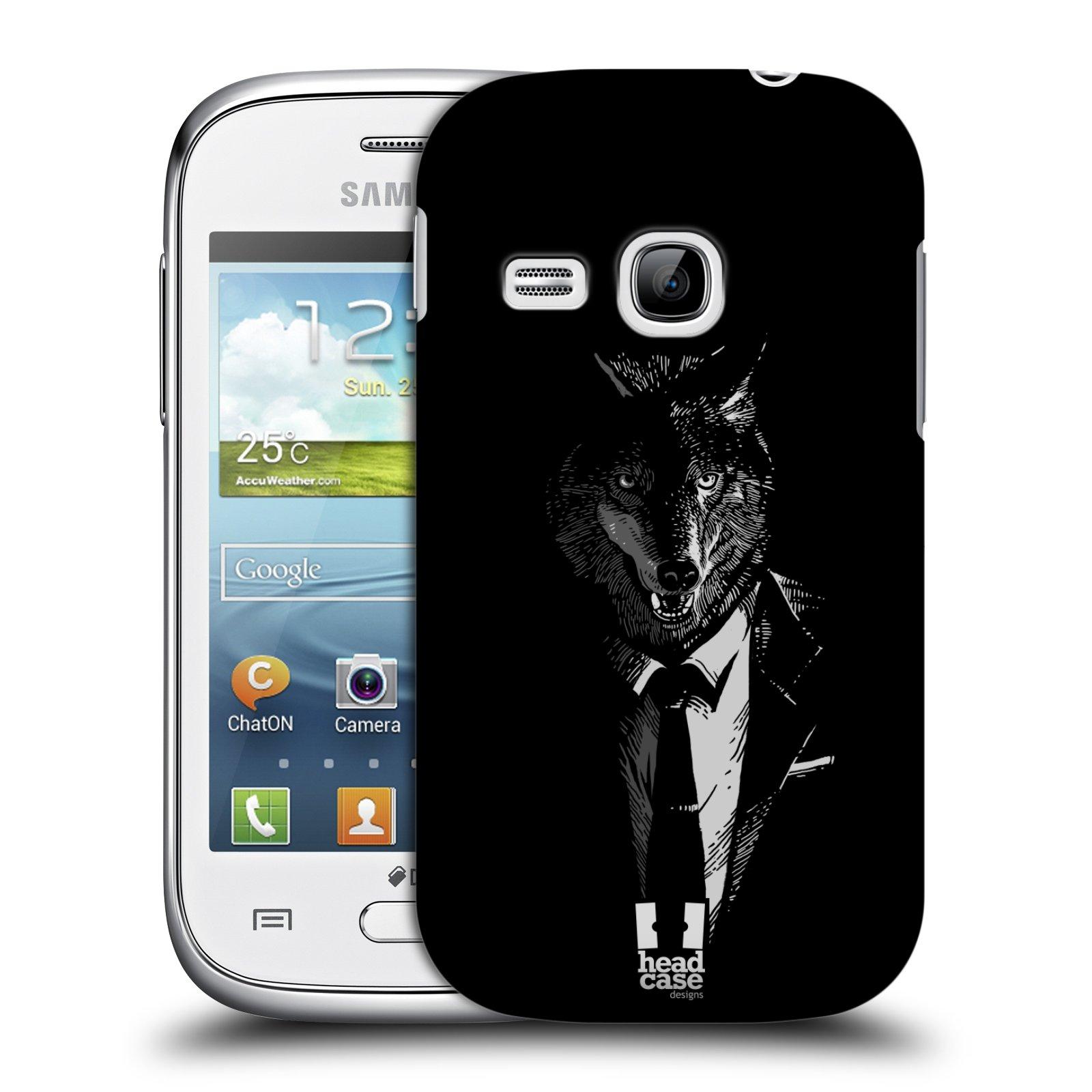 HEAD CASE plastový obal na mobil SAMSUNG Galaxy Young S6310 vzor Zvíře v obleku vlk