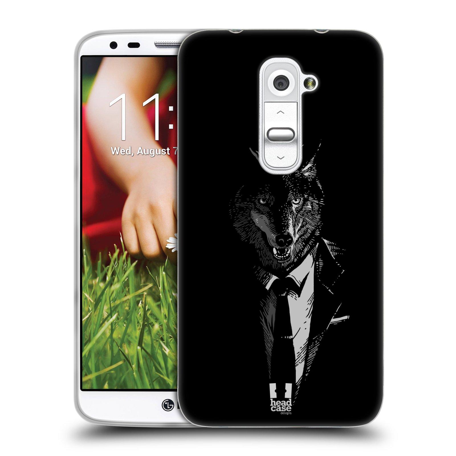 HEAD CASE silikonový obal na mobil LG G2 vzor Zvíře v obleku vlk