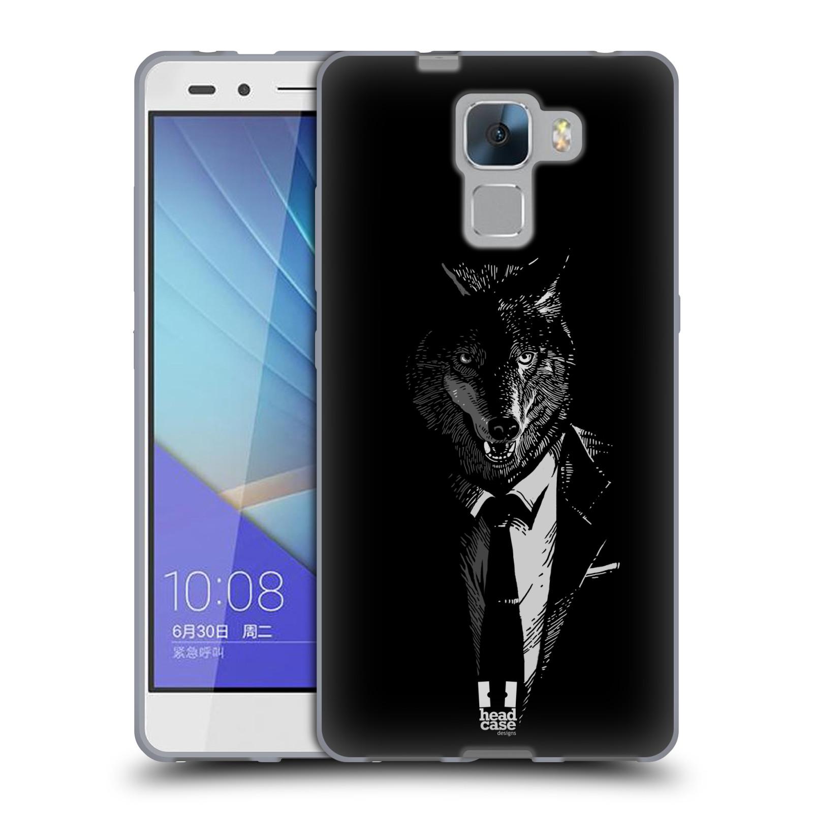 HEAD CASE silikonový obal na mobil HUAWEI HONOR 7 vzor Zvíře v obleku vlk