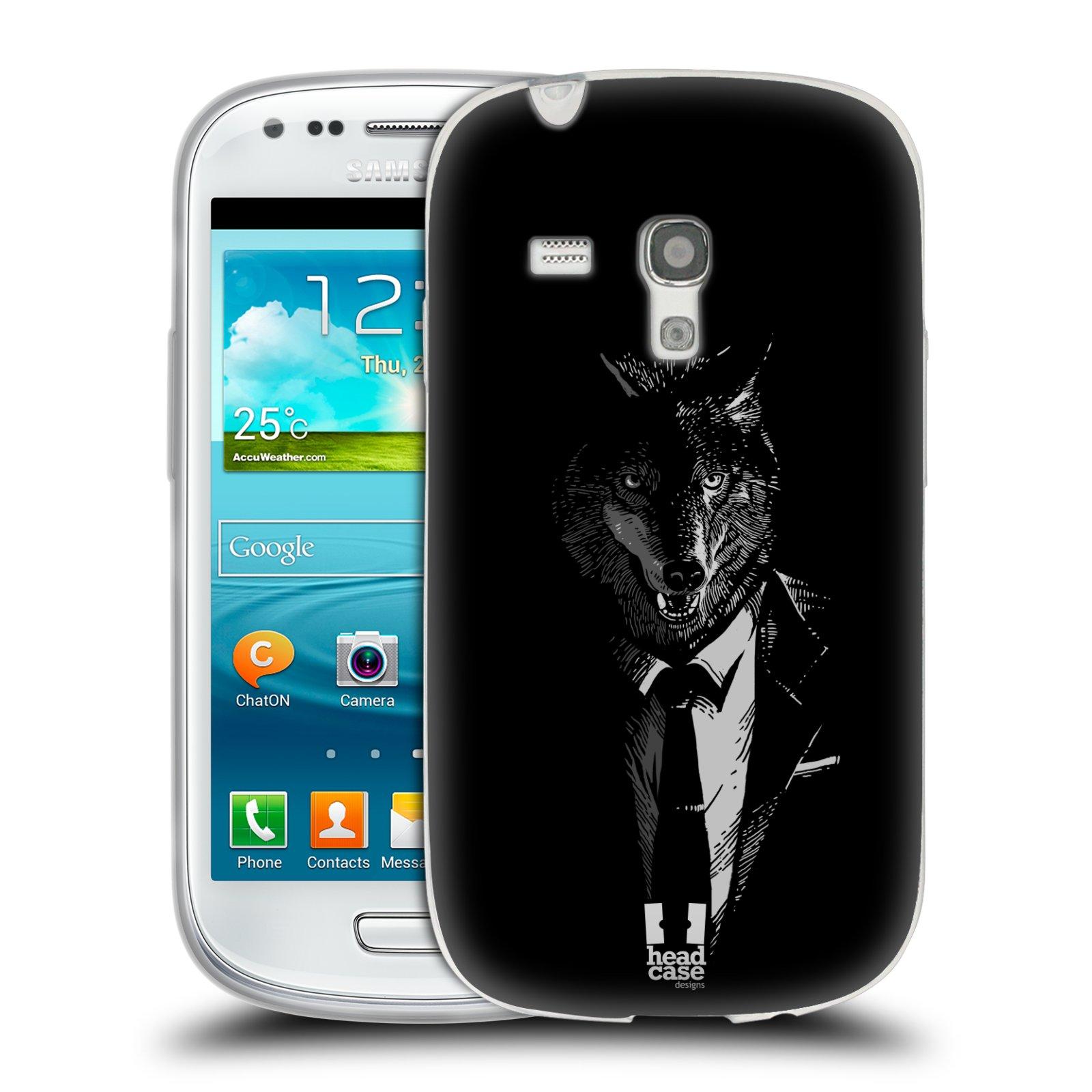 HEAD CASE silikonový obal na mobil Samsung Galaxy S3 MINI i8190 vzor Zvíře v obleku vlk