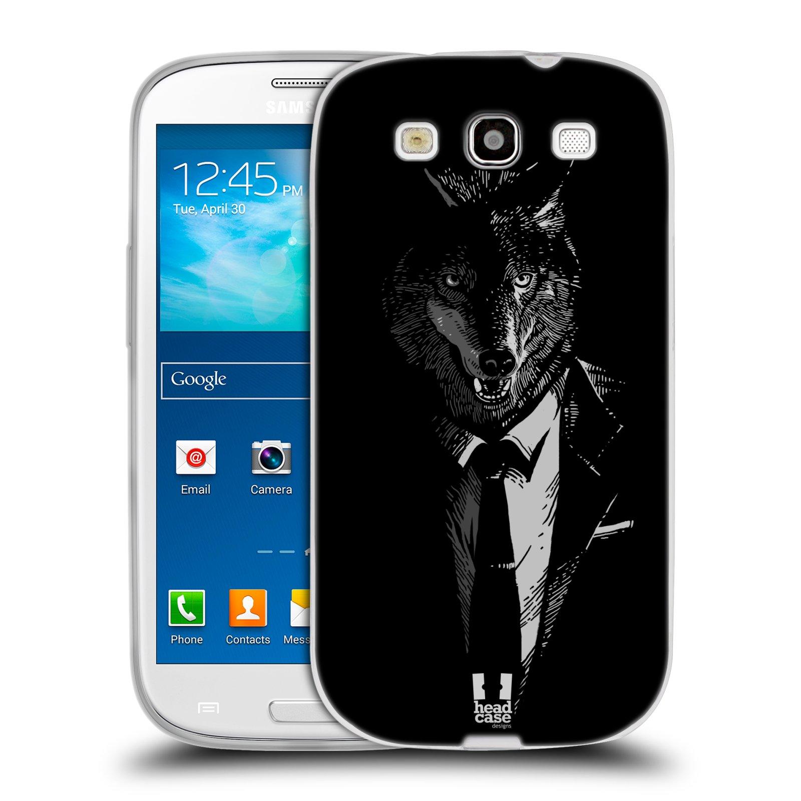 HEAD CASE silikonový obal na mobil Samsung Galaxy S3 i9300 vzor Zvíře v obleku vlk