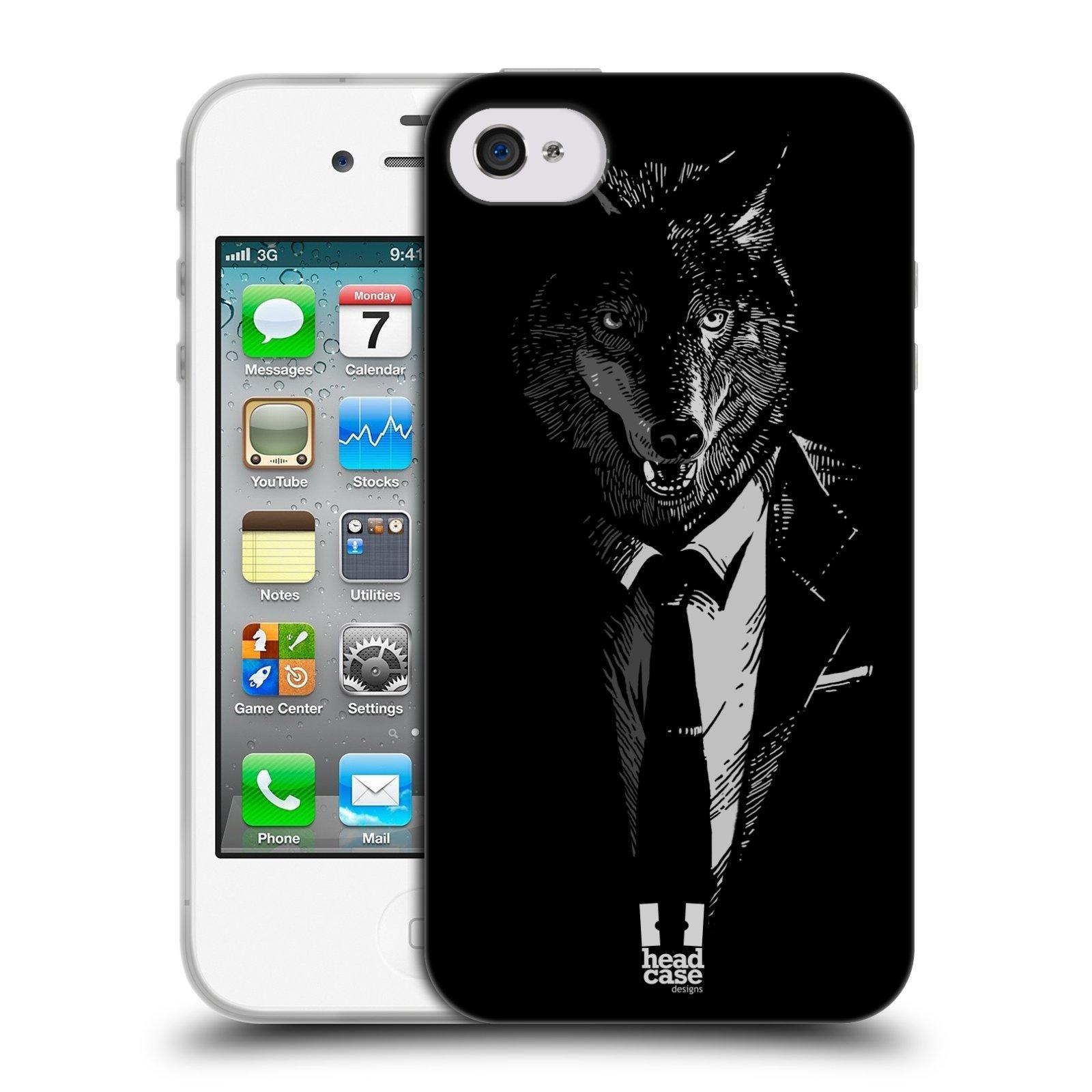 HEAD CASE silikonový obal na mobil Apple Iphone 4/4S vzor Zvíře v obleku vlk
