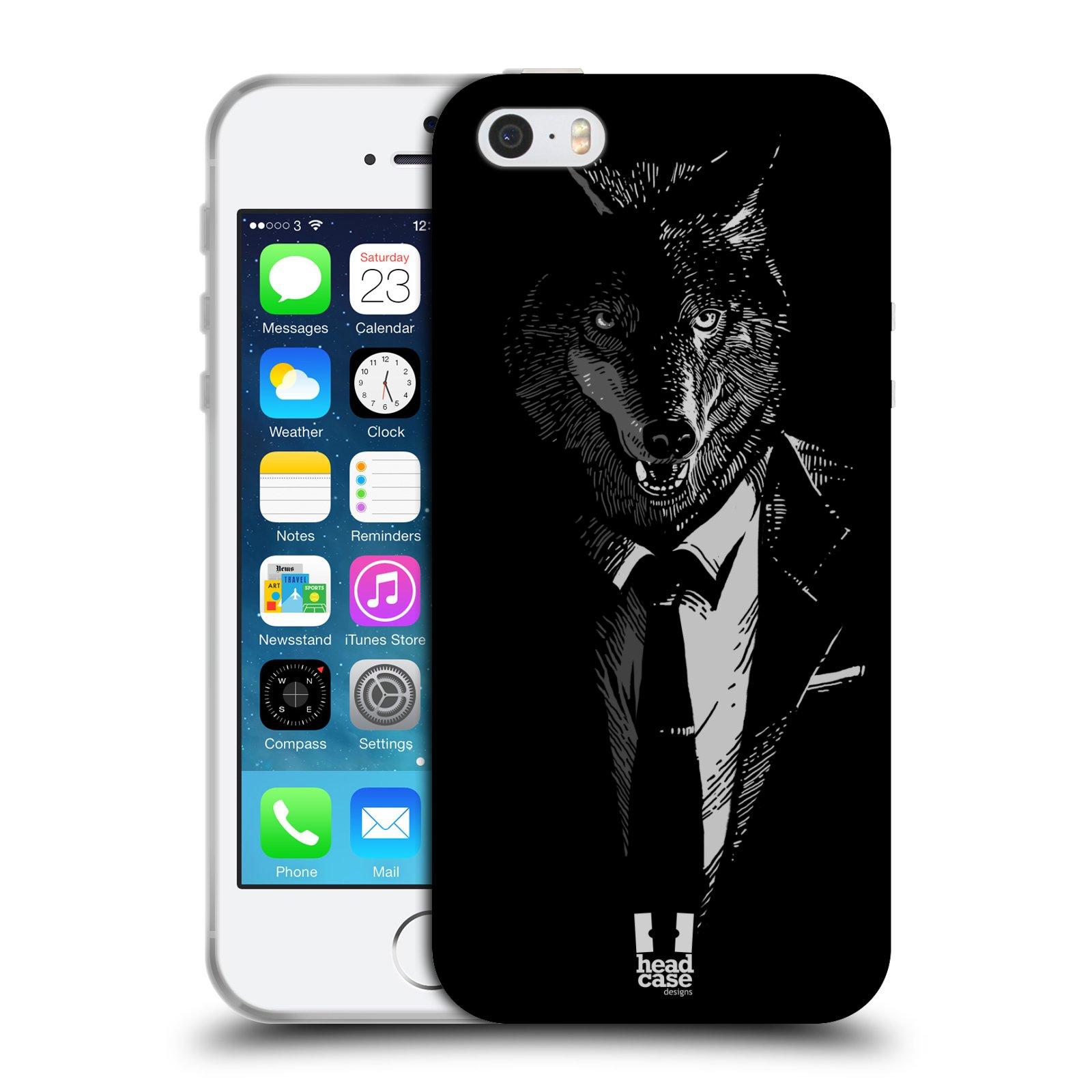 HEAD CASE silikonový obal na mobil Apple Iphone 5 5S vzor Zvíře v obleku  vlk empty 796b44fad76