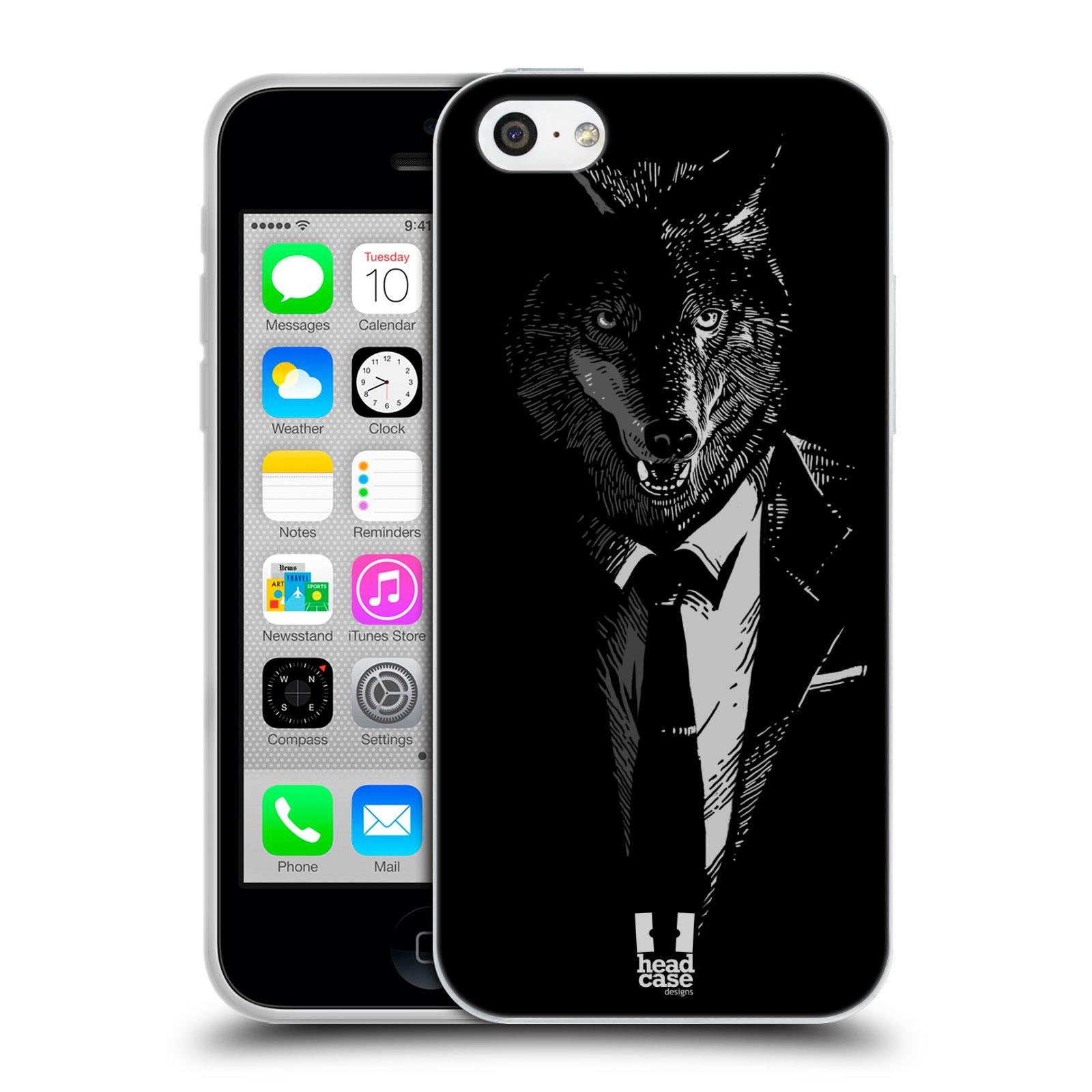 HEAD CASE silikonový obal na mobil Apple Iphone 5C vzor Zvíře v obleku vlk