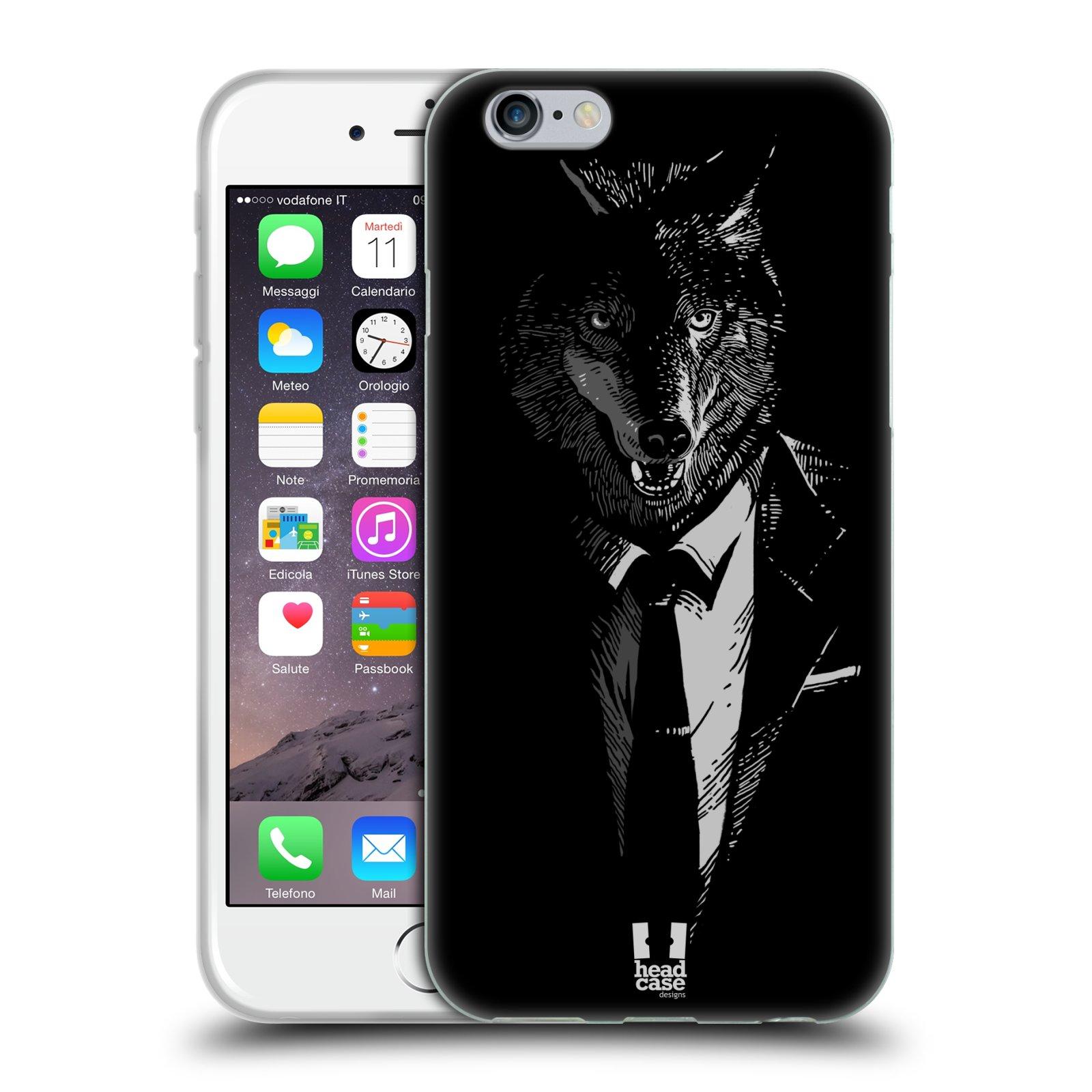 HEAD CASE silikonový obal na mobil Apple Iphone 6 6S vzor Zvíře v obleku vlk 3db5e984bf6