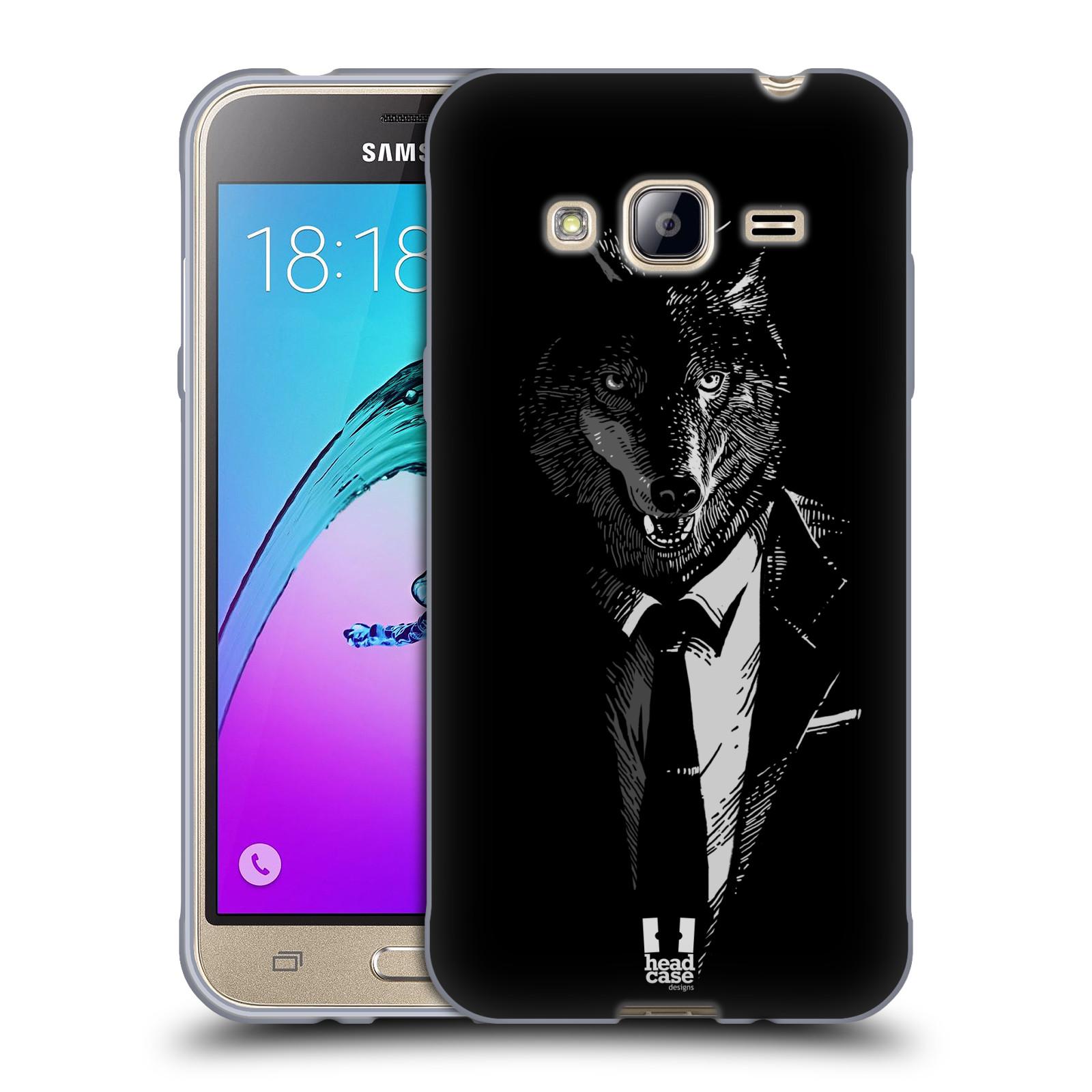 HEAD CASE silikonový obal na mobil Samsung Galaxy J3, J3 2016 vzor Zvíře v obleku vlk
