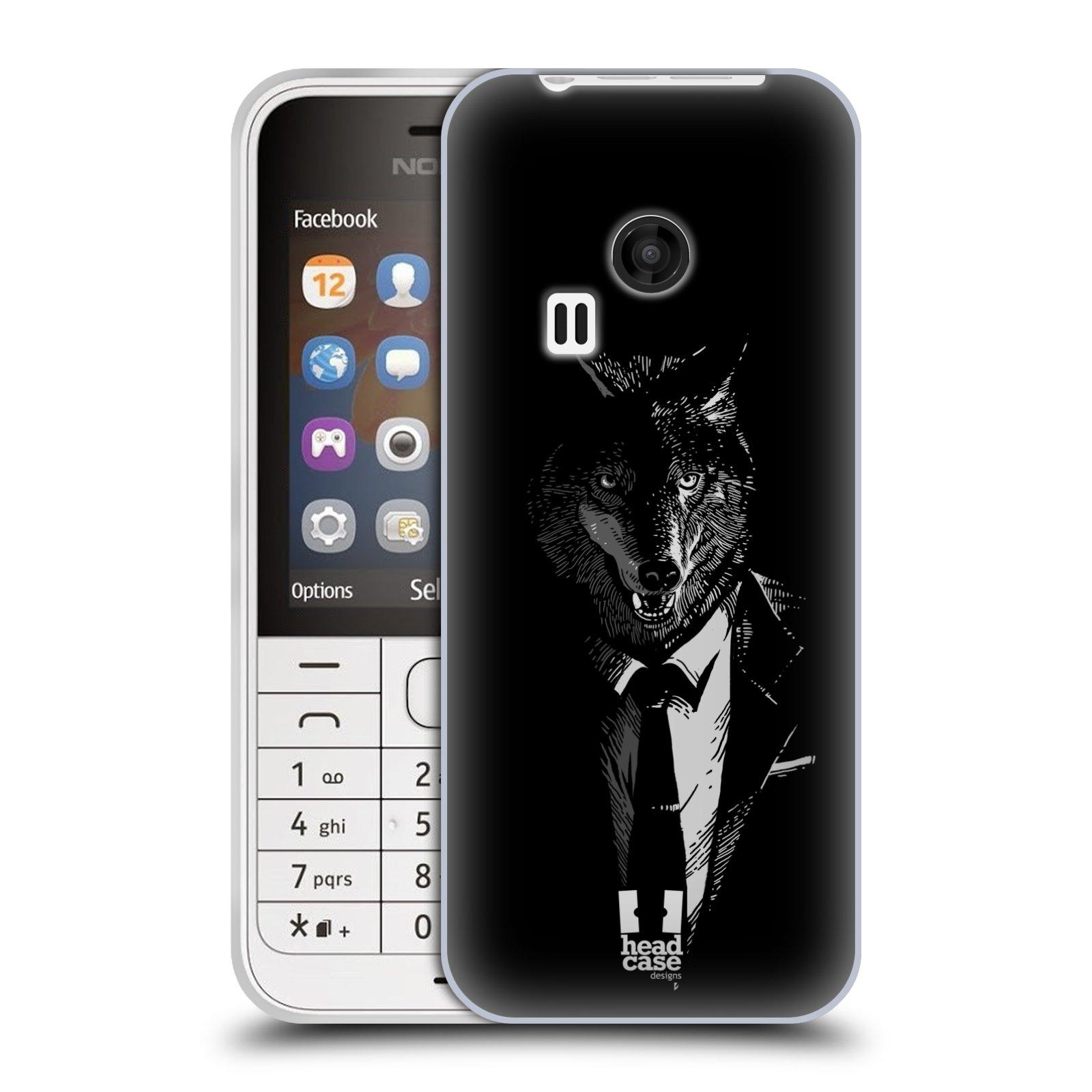HEAD CASE silikonový obal na mobil NOKIA 220 / NOKIA 220 DUAL SIM vzor Zvíře v obleku vlk