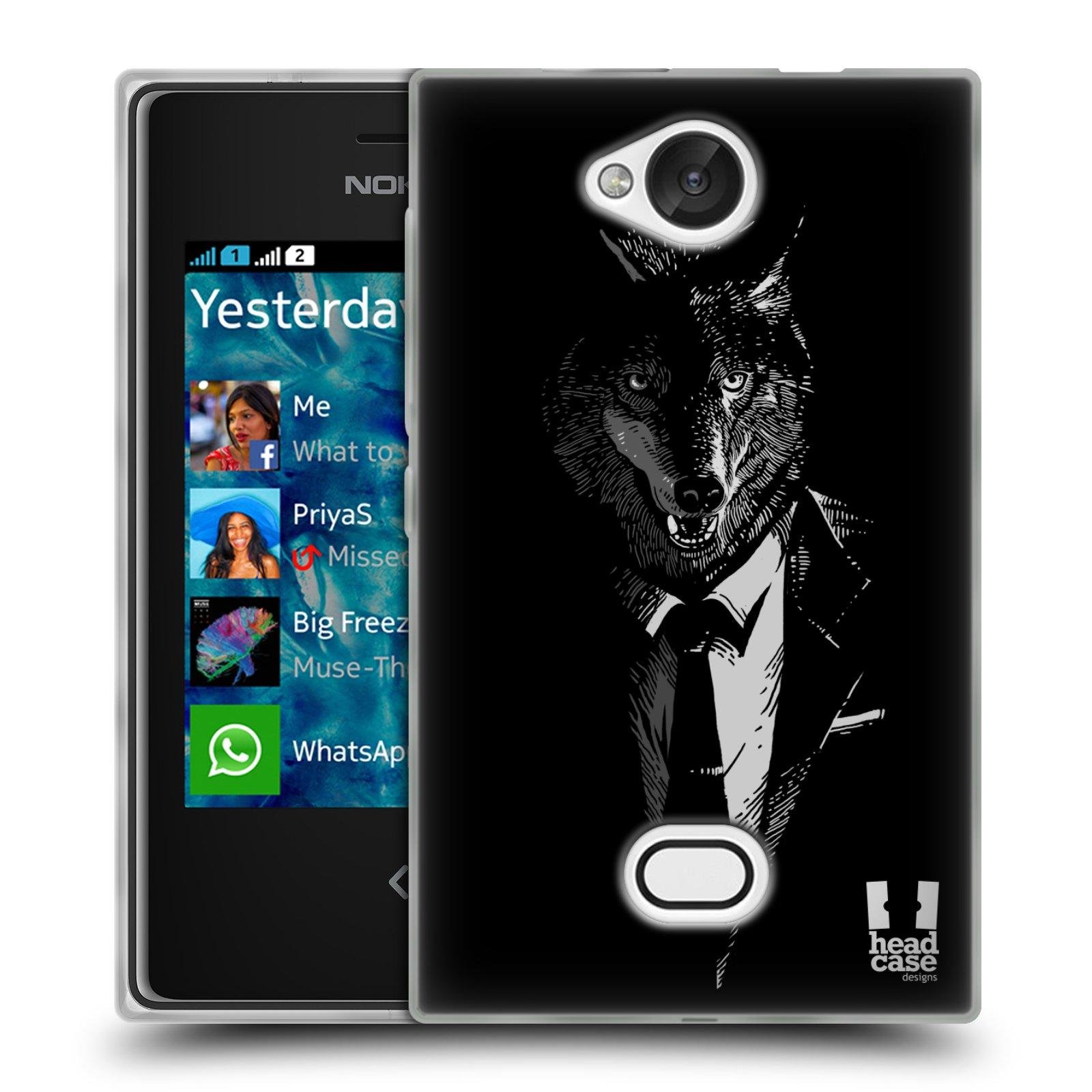 HEAD CASE silikonový obal na mobil NOKIA Asha 503 vzor Zvíře v obleku vlk