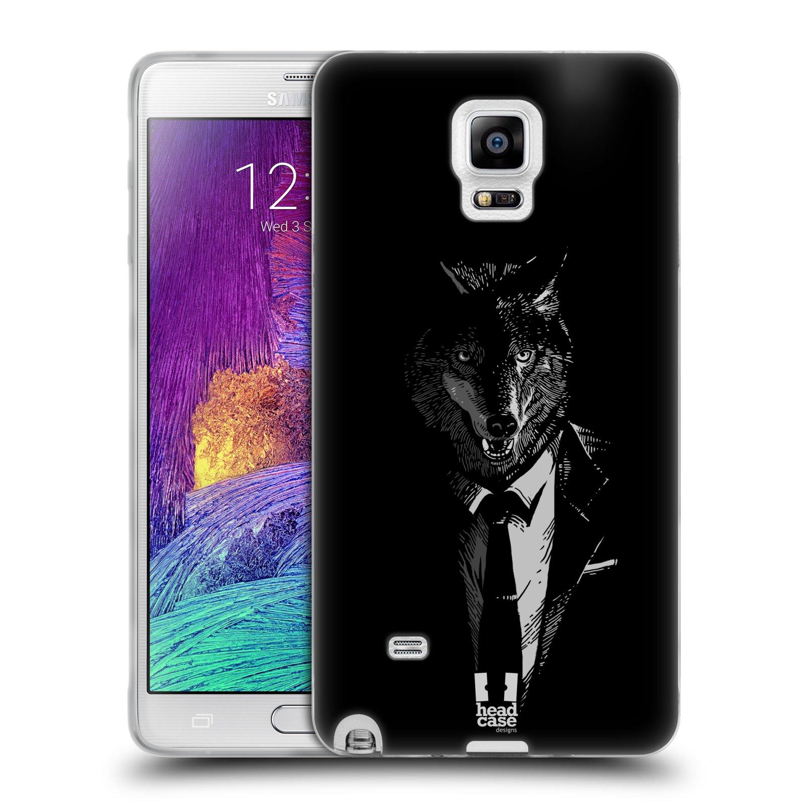 HEAD CASE silikonový obal na mobil Samsung Galaxy Note 4 (N910) vzor Zvíře v obleku vlk