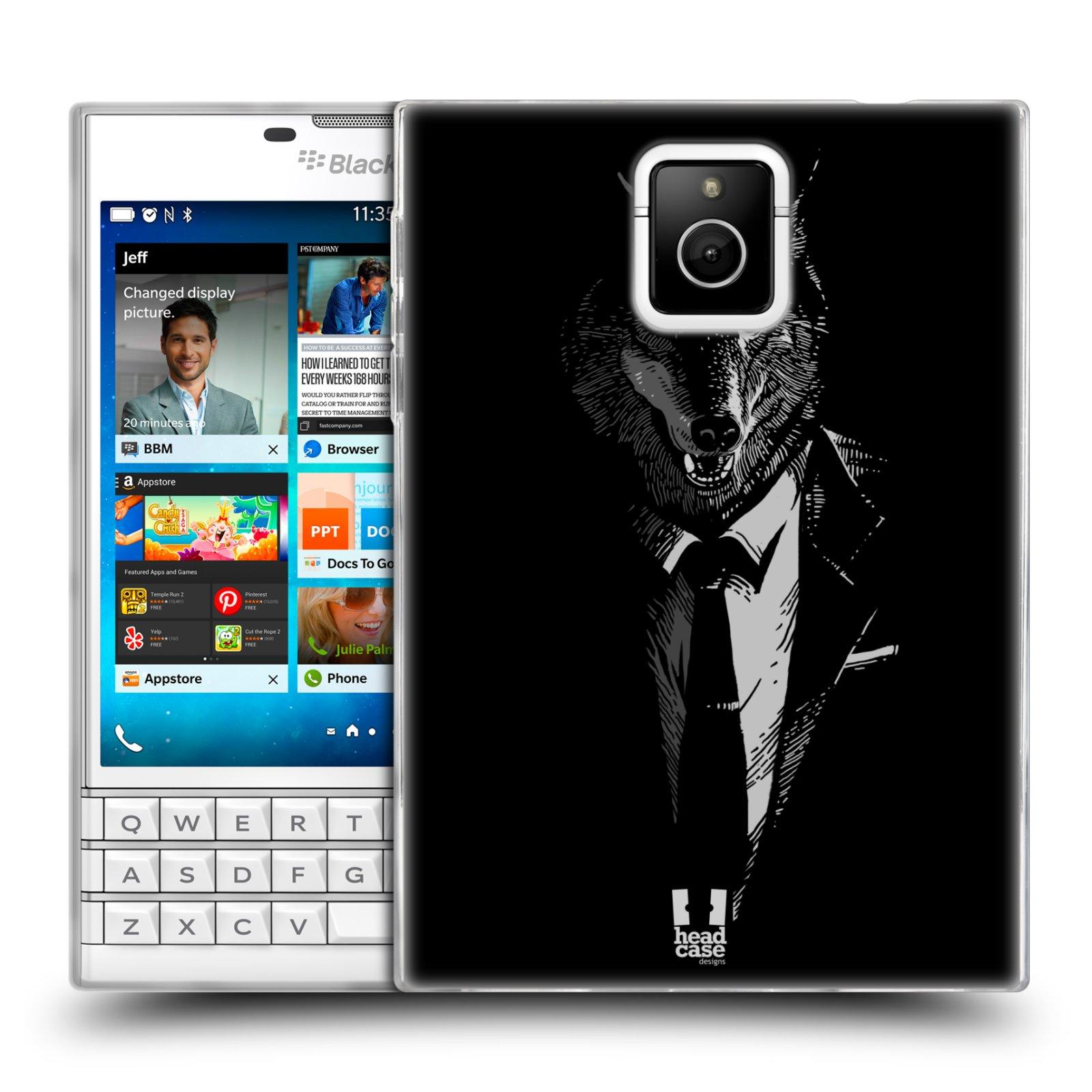 HEAD CASE silikonový obal na mobil Blackberry PASSPORT vzor Zvíře v obleku vlk