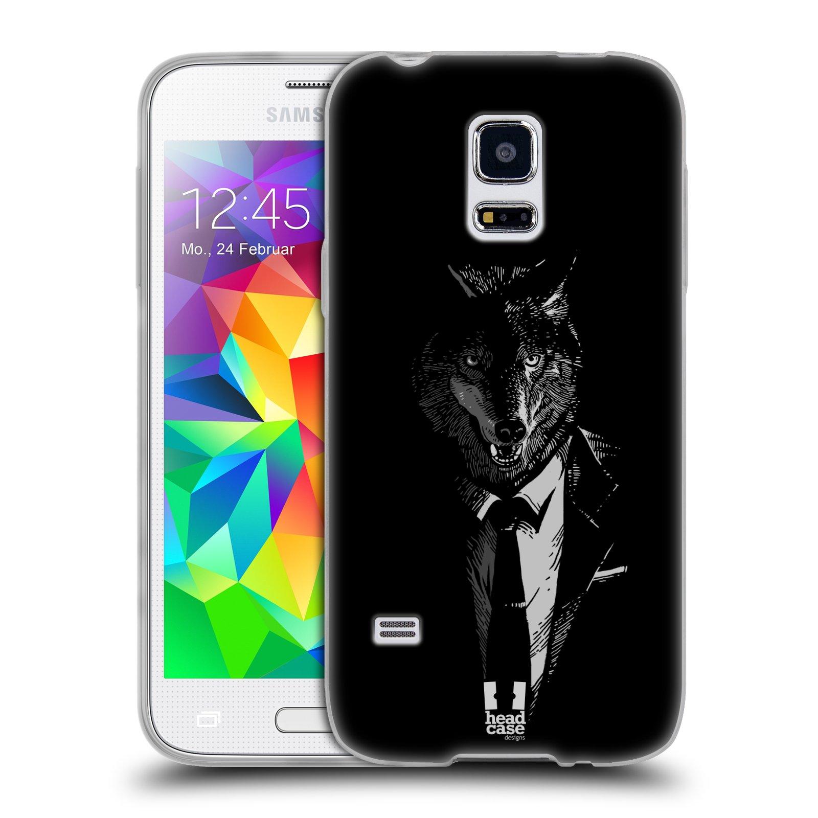HEAD CASE silikonový obal na mobil Samsung Galaxy S5 MINI vzor Zvíře v obleku vlk