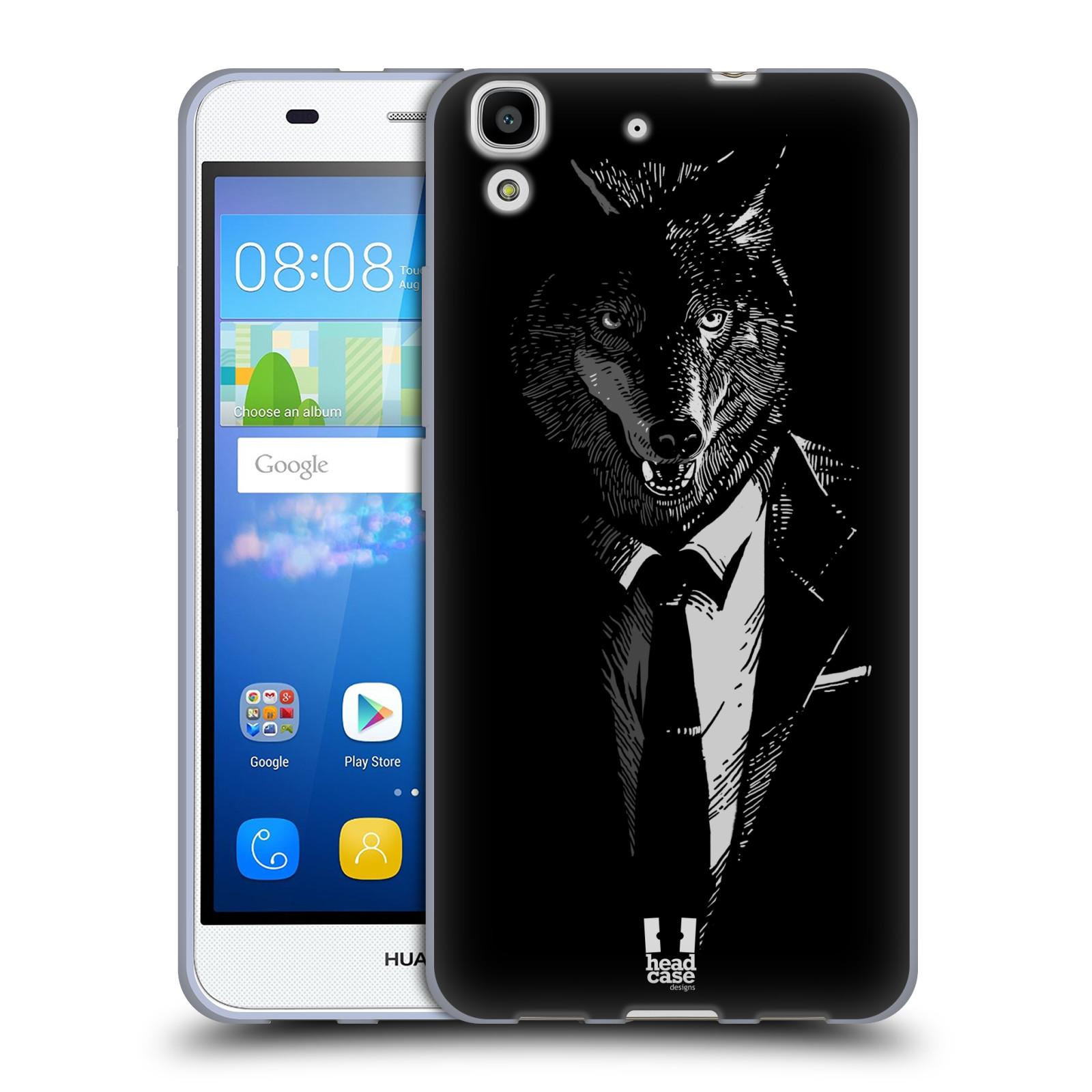 HEAD CASE silikonový obal na mobil HUAWEI Y6 vzor Zvíře v obleku vlk