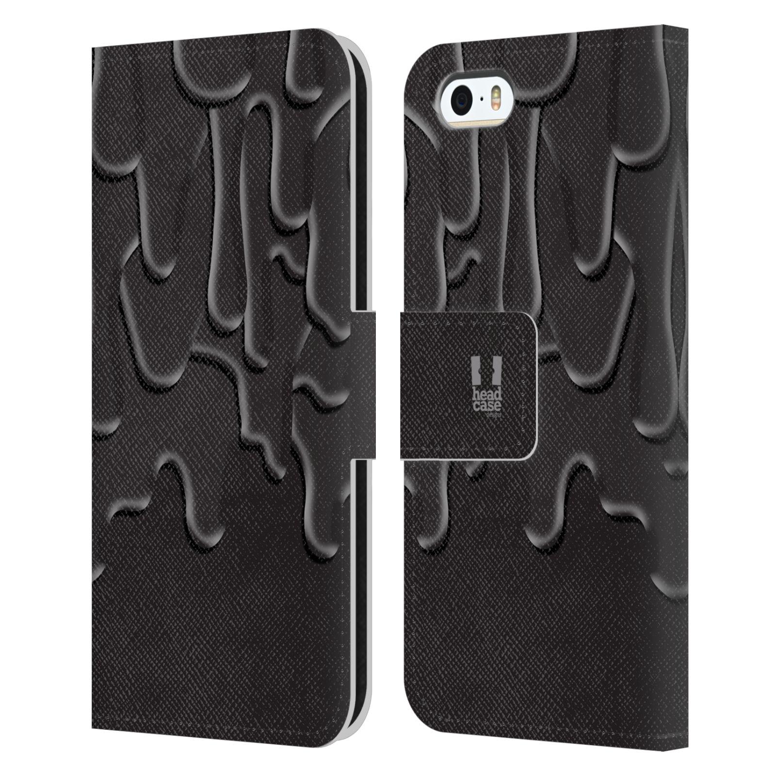 HEAD CASE Flipové pouzdro pro mobil Apple Iphone 5/5s ZÁPLAVA BARVA černá