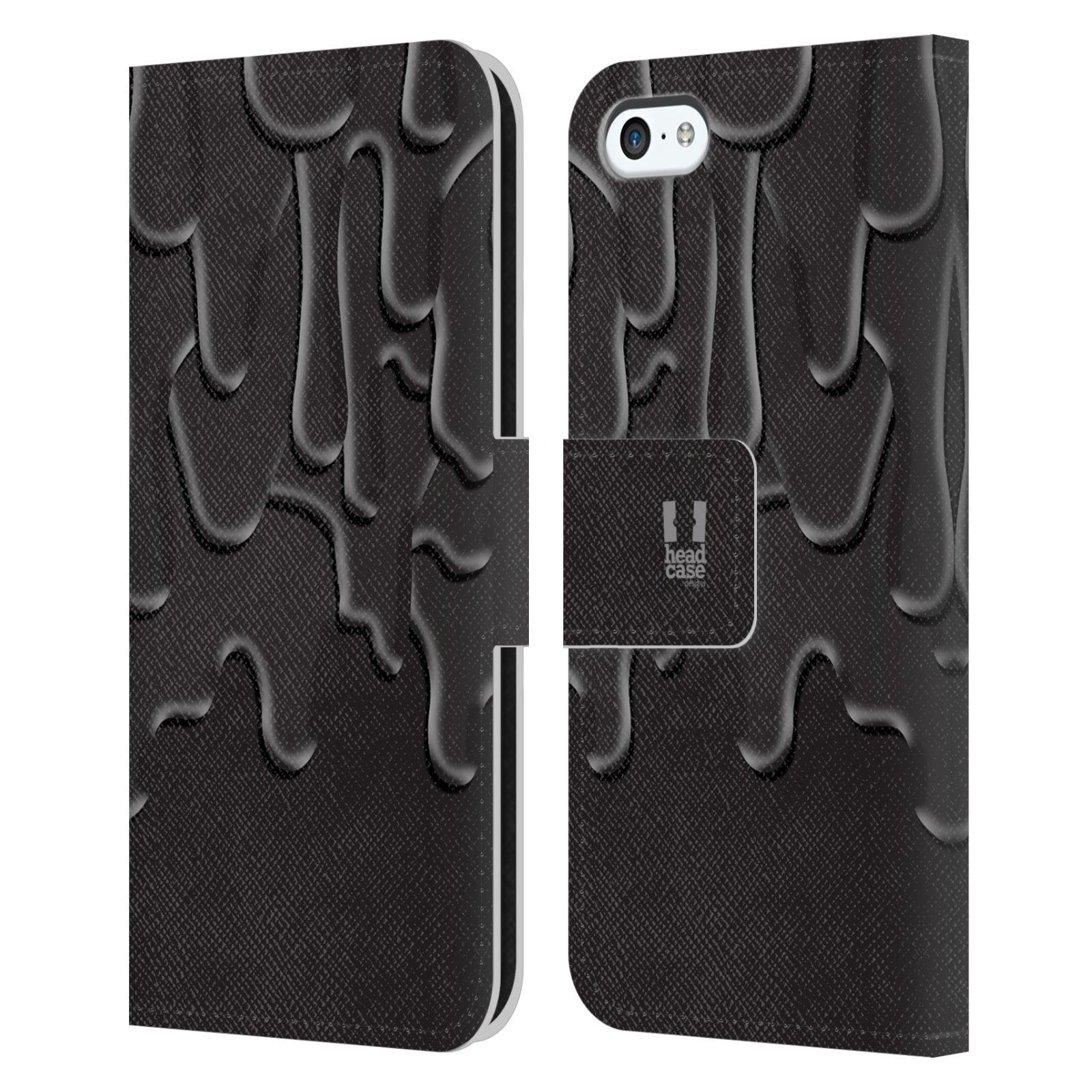 HEAD CASE Flipové pouzdro pro mobil Apple Iphone 5C ZÁPLAVA BARVA černá