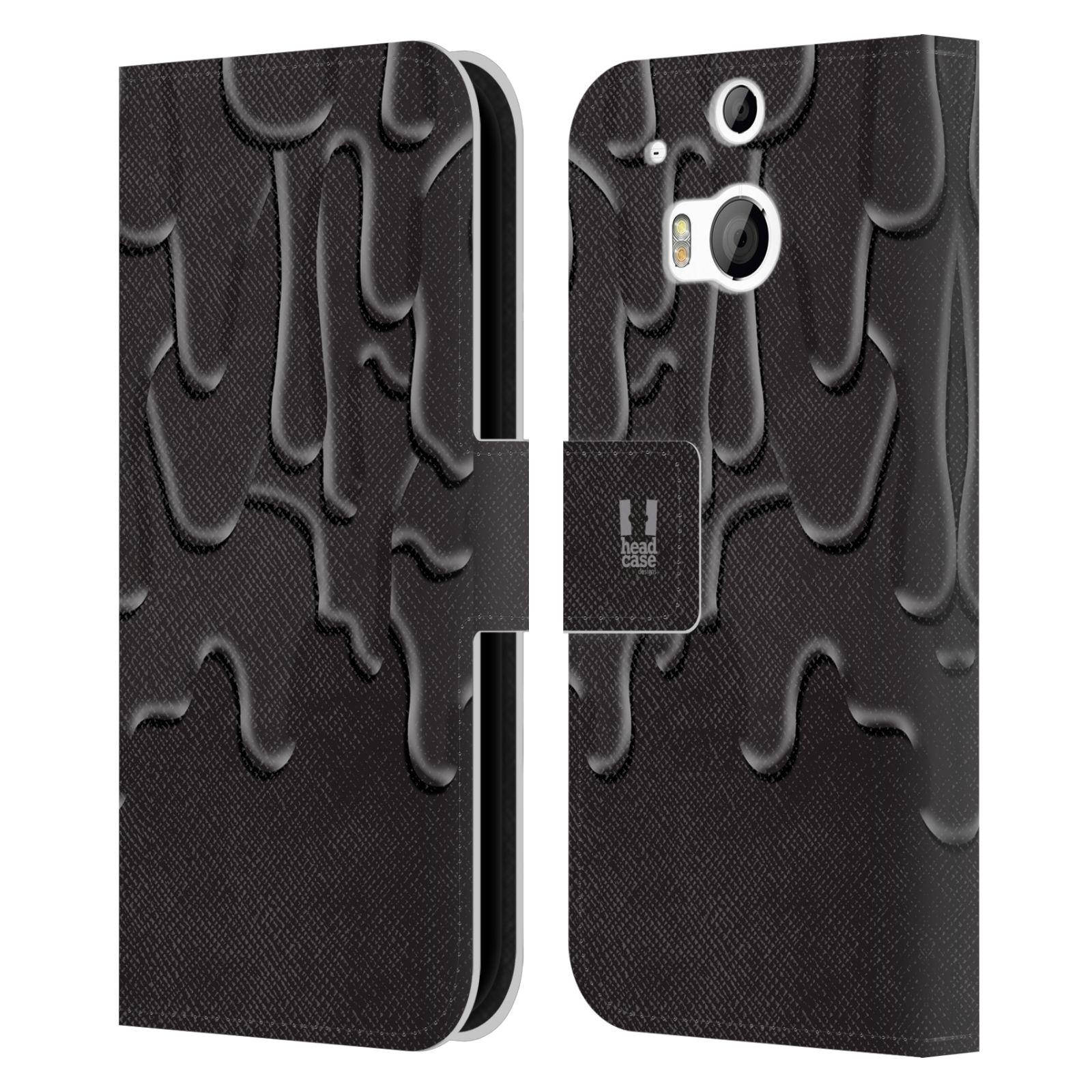 HEAD CASE Flipové pouzdro pro mobil HTC ONE (M8, M8s) ZÁPLAVA BARVA černá