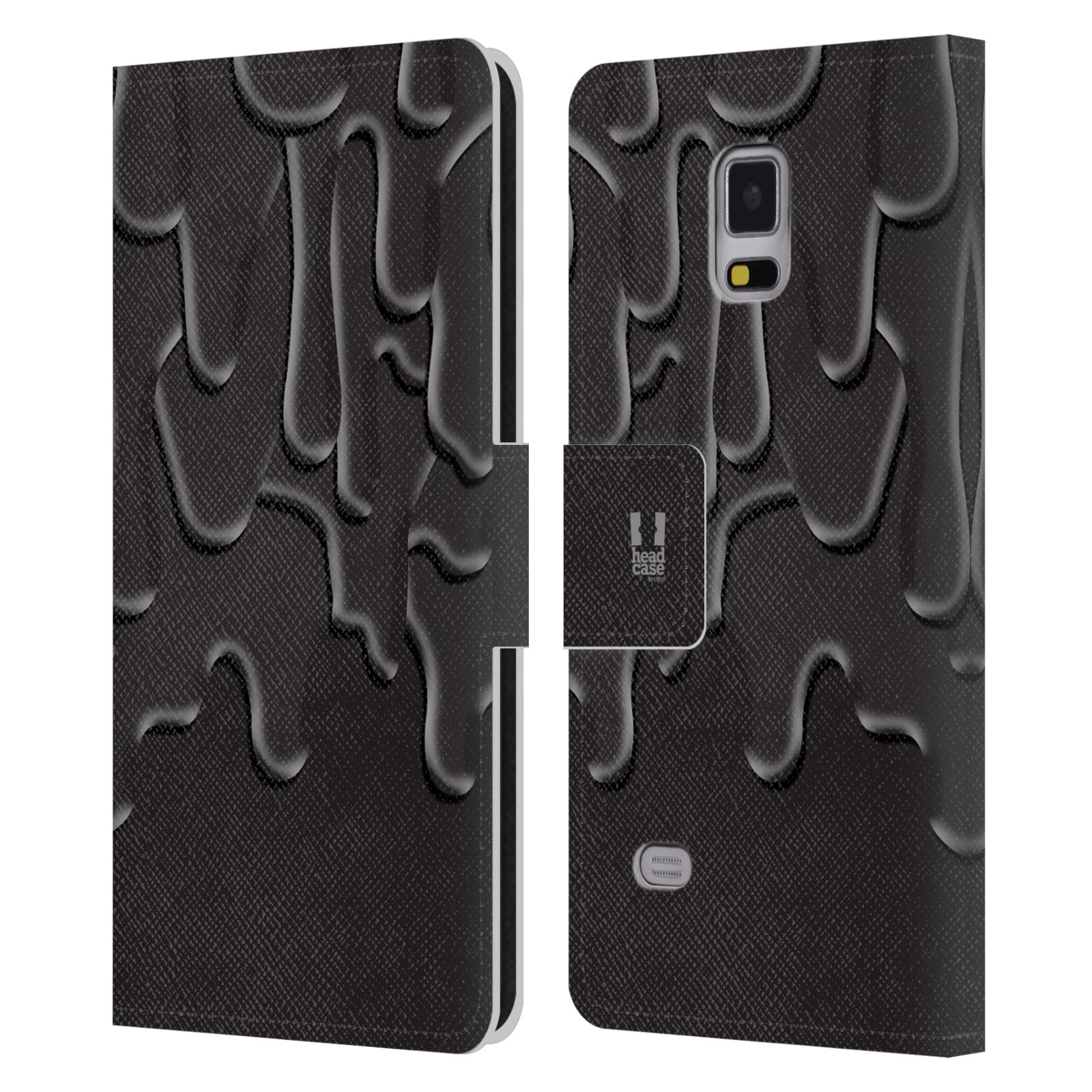HEAD CASE Flipové pouzdro pro mobil Samsung Galaxy Note 4 ZÁPLAVA BARVA černá