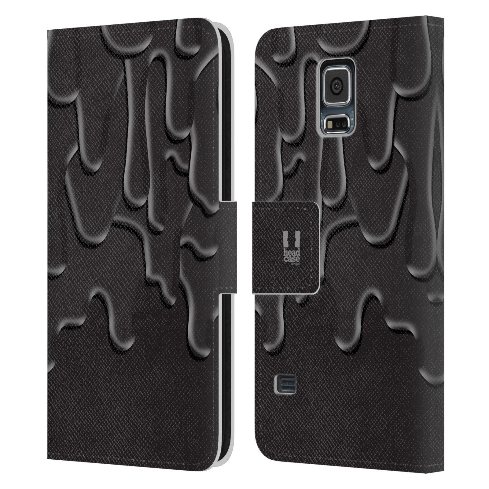 HEAD CASE Flipové pouzdro pro mobil Samsung Galaxy S5 / S5 NEO ZÁPLAVA BARVA černá