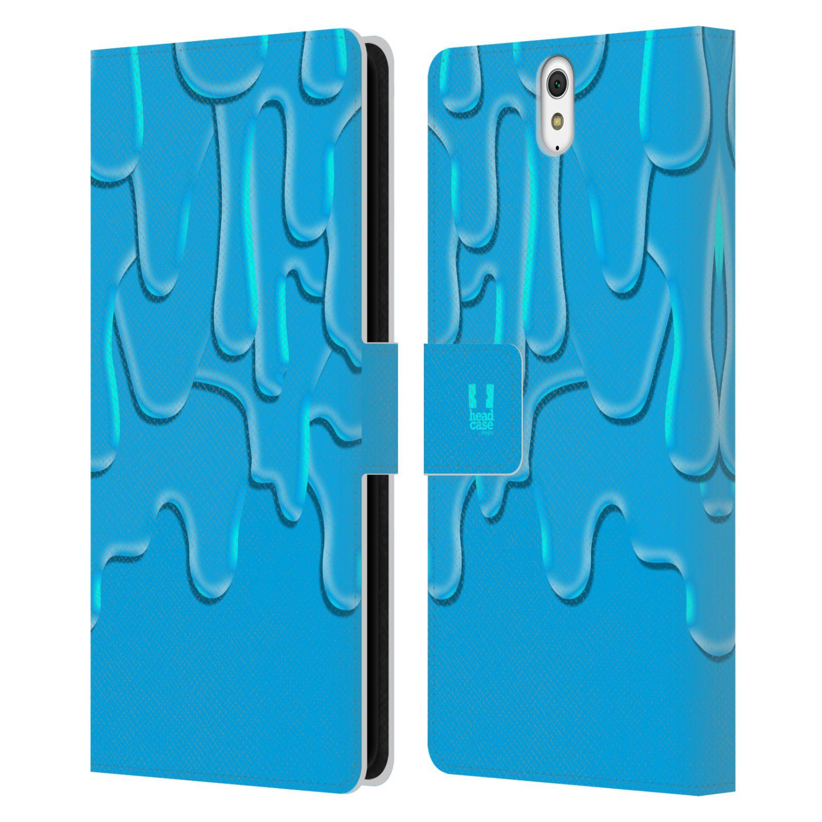 HEAD CASE Flipové pouzdro pro mobil SONY XPERIA C5 Ultra ZÁPLAVA BARVA tyrkysová modrá