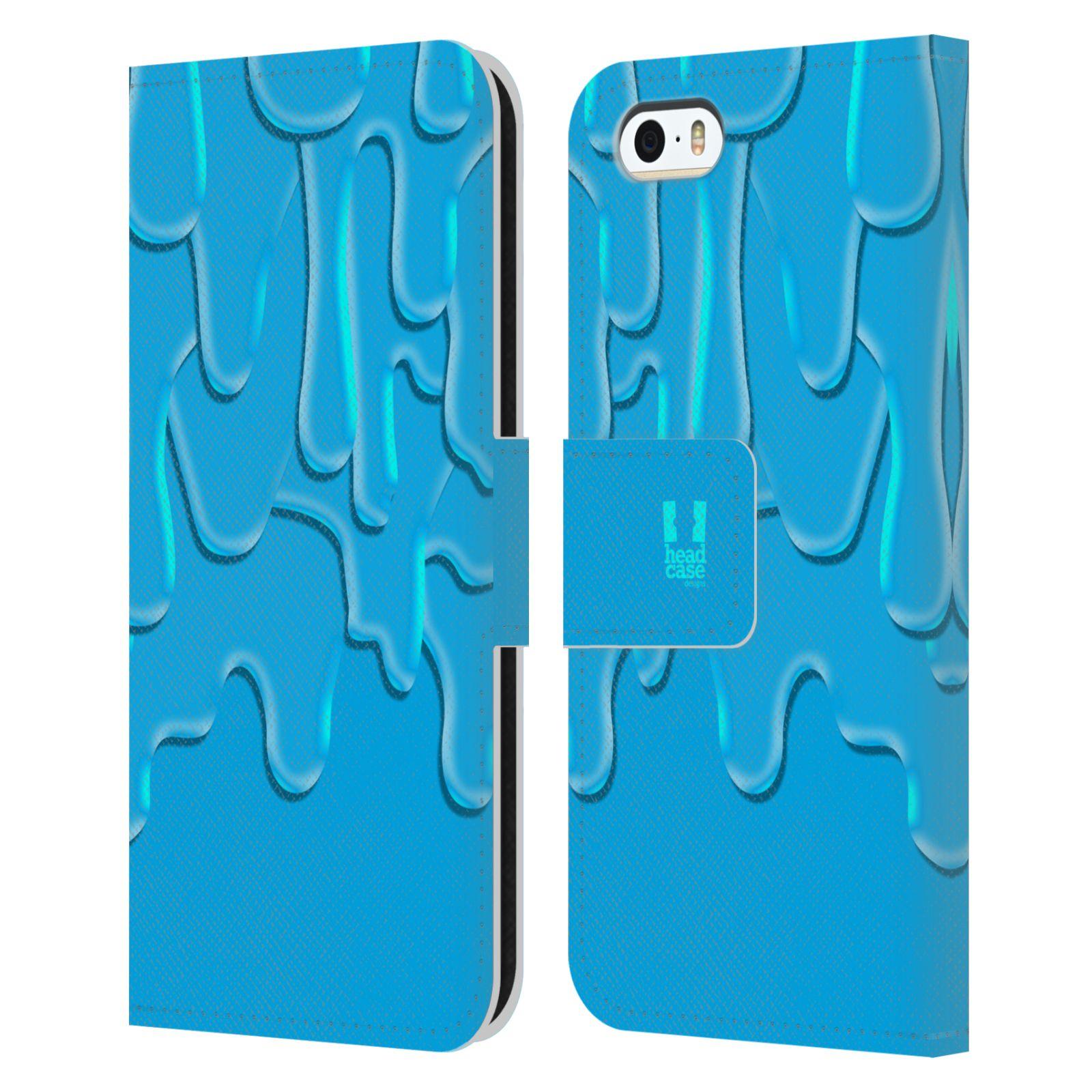 HEAD CASE Flipové pouzdro pro mobil Apple Iphone 5/5s ZÁPLAVA BARVA tyrkysová modrá