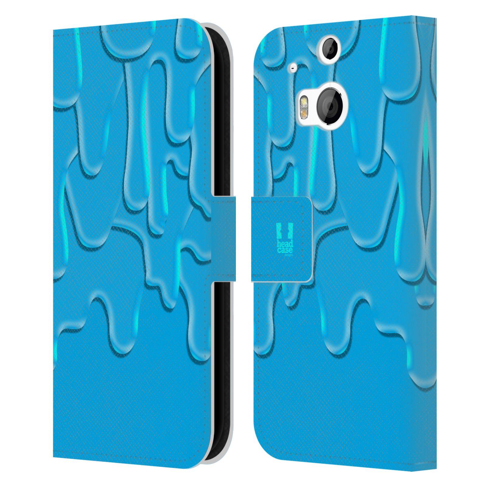 HEAD CASE Flipové pouzdro pro mobil HTC ONE (M8, M8s) ZÁPLAVA BARVA tyrkysová modrá