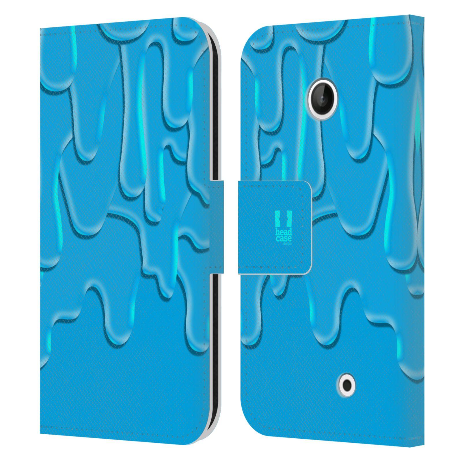 HEAD CASE Flipové pouzdro pro mobil NOKIA LUMIA 630 / LUMIA 630 DUAL ZÁPLAVA BARVA tyrkysová modrá