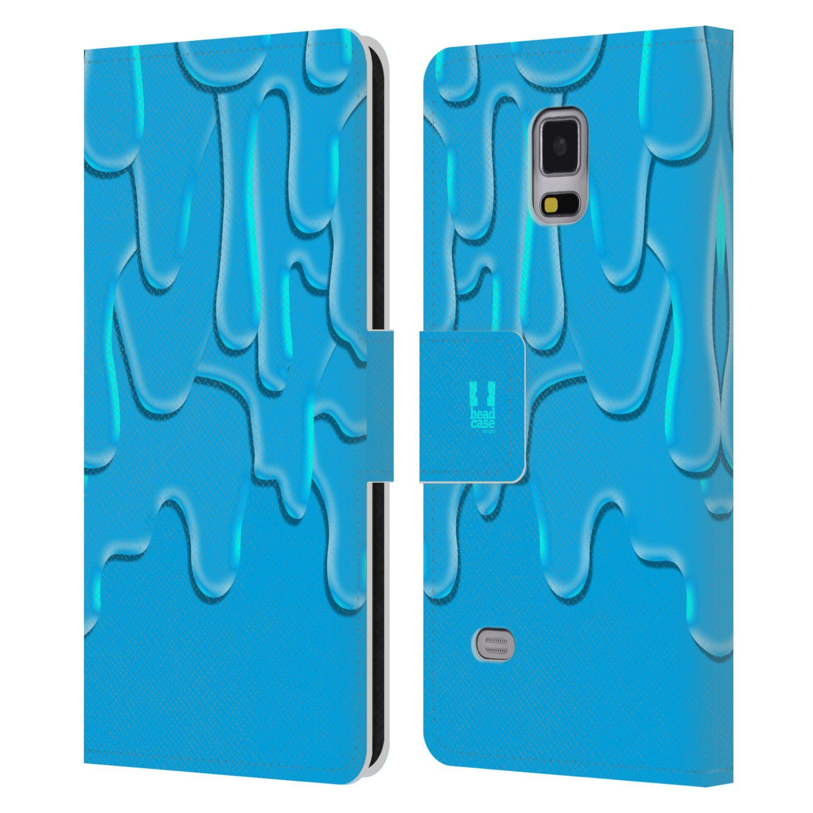 HEAD CASE Flipové pouzdro pro mobil Samsung Galaxy Note 4 ZÁPLAVA BARVA tyrkysová modrá