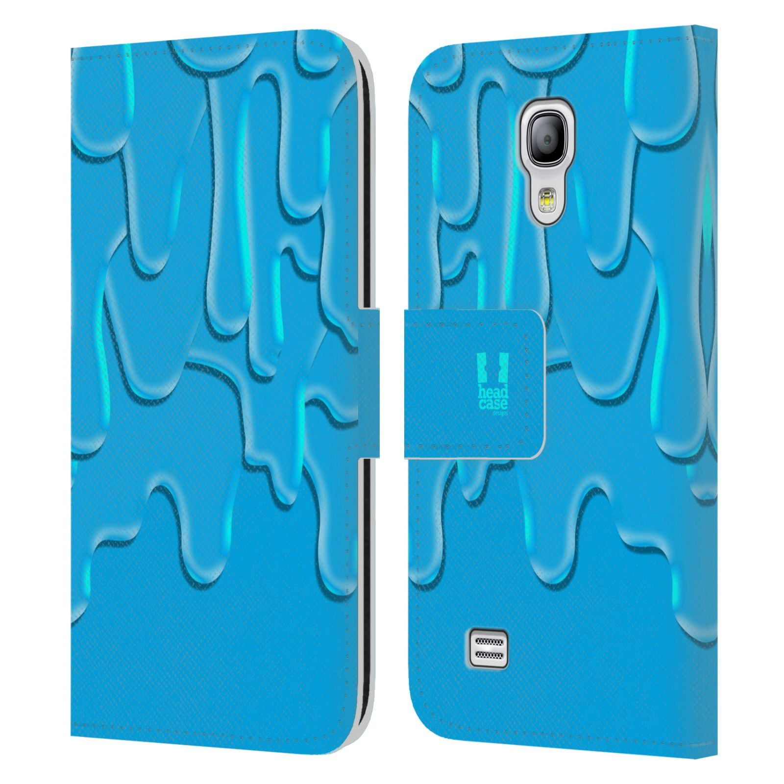 HEAD CASE Flipové pouzdro pro mobil Samsung Galaxy S4 MINI / S4 MINI DUOS ZÁPLAVA BARVA tyrkysová modrá