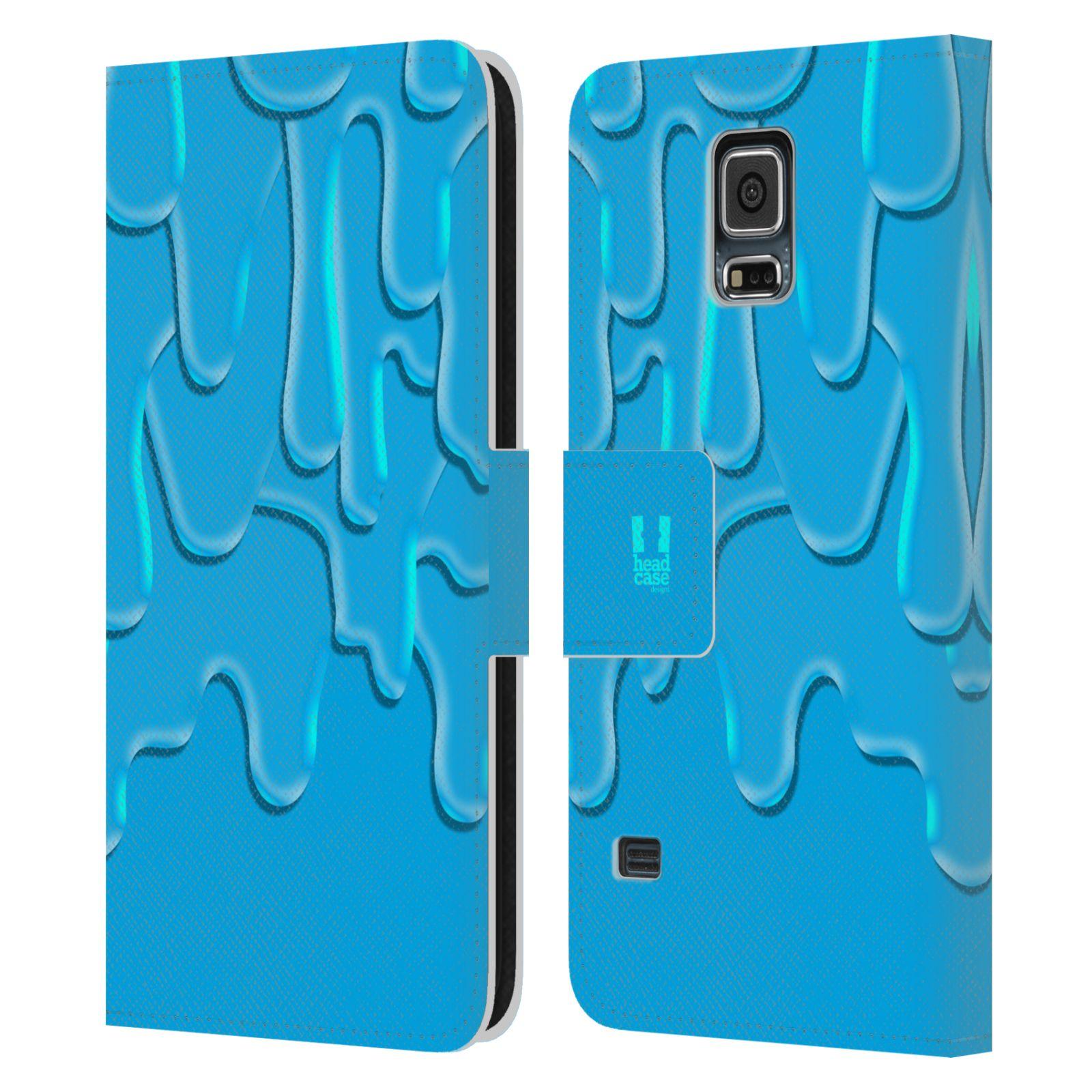 HEAD CASE Flipové pouzdro pro mobil Samsung Galaxy S5 / S5 NEO ZÁPLAVA BARVA tyrkysová modrá