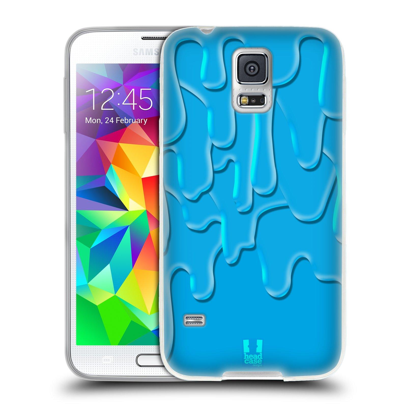 HEAD CASE silikonový obal na mobil Samsung Galaxy S5/S5 NEO vzor Barevná záplava TYRKYSOVÁ