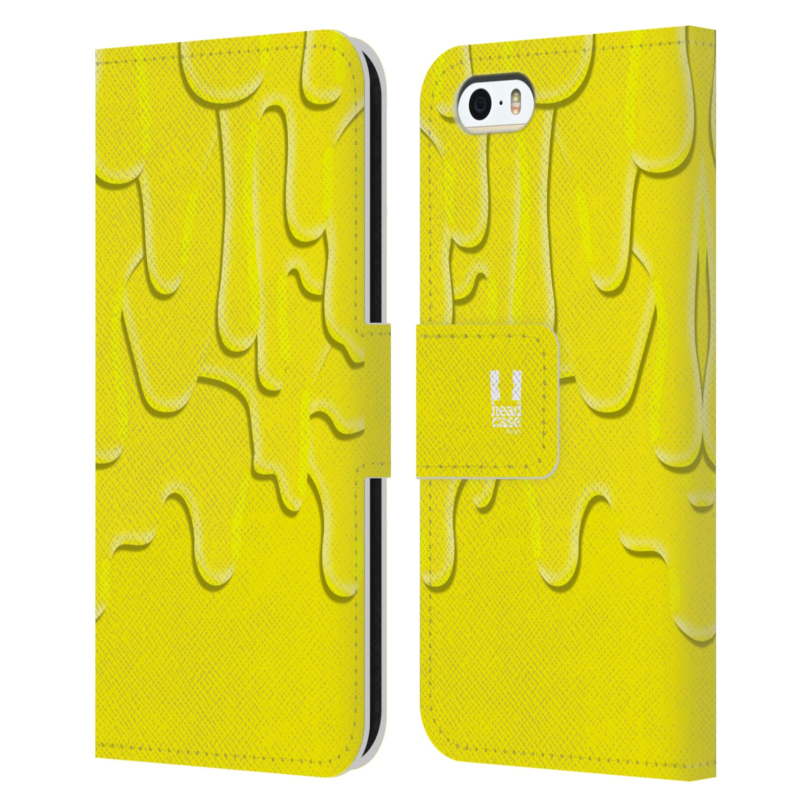 HEAD CASE Flipové pouzdro pro mobil Apple Iphone 5/5s ZÁPLAVA BARVA žlutá