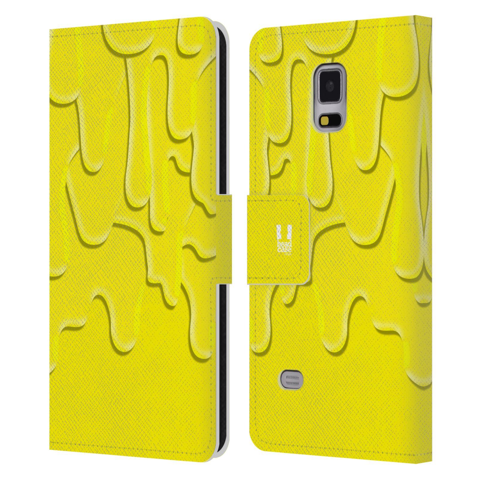 HEAD CASE Flipové pouzdro pro mobil Samsung Galaxy Note 4 ZÁPLAVA BARVA žlutá