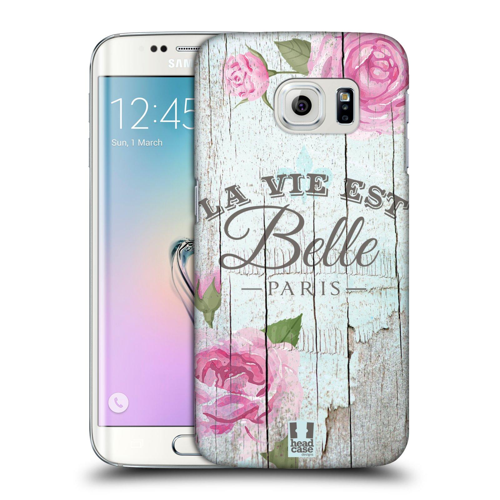 HEAD CASE plastový obal na mobil SAMSUNG Galaxy S6 EDGE (G9250, G925, G925F) vzor Barevný venkov, vintage RŮŽE, ŘŮŽOVÁ