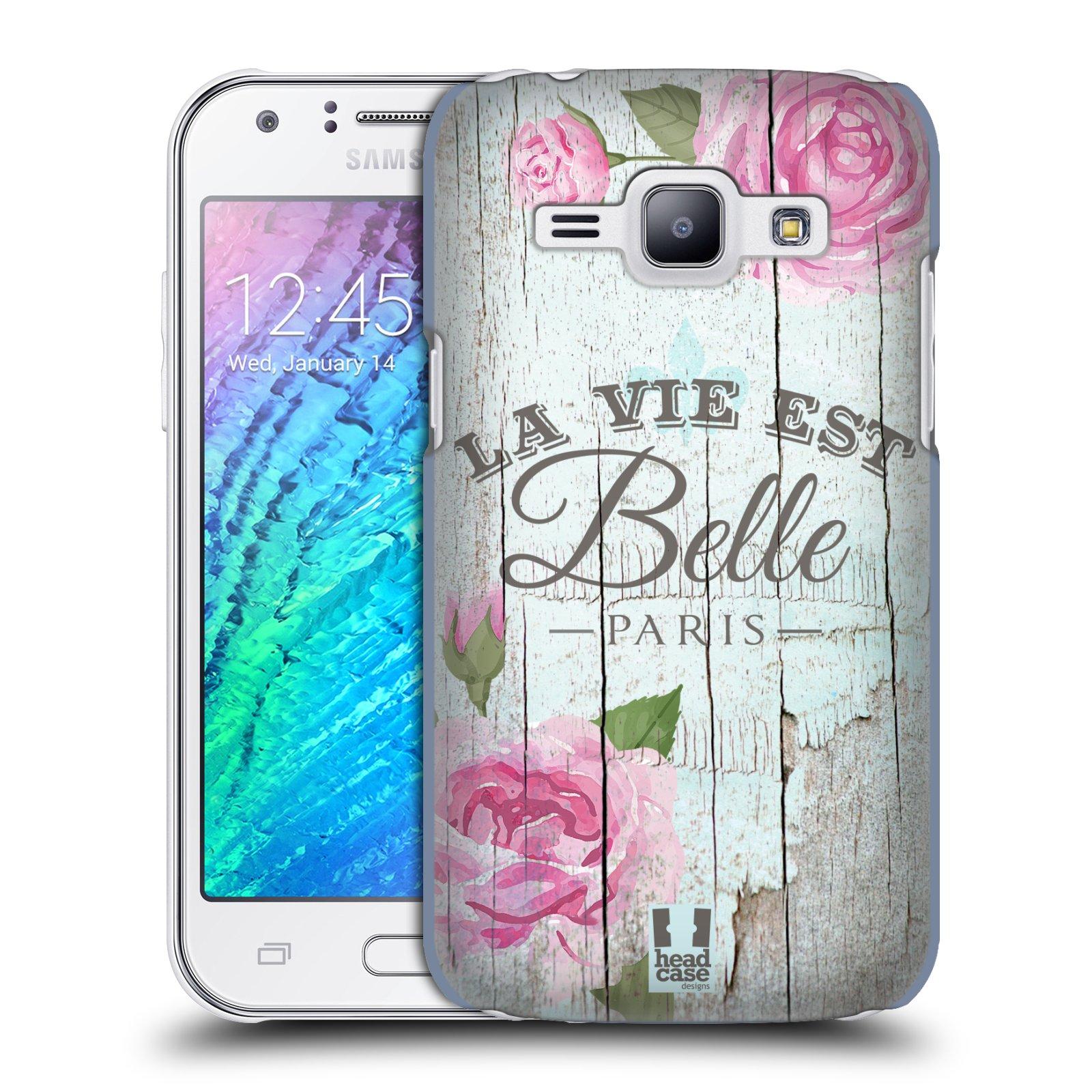 HEAD CASE plastový obal na mobil SAMSUNG Galaxy J1, J100 vzor Barevný venkov, vintage RŮŽE, ŘŮŽOVÁ