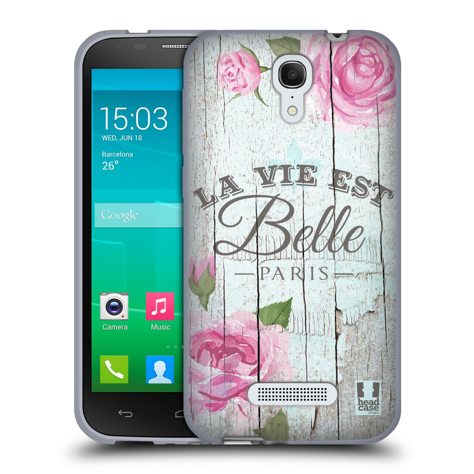 HEAD CASE silikonový obal na mobil Alcatel POP S7 vzor Barevný venkov, vintage RŮŽE, ŘŮŽOVÁ