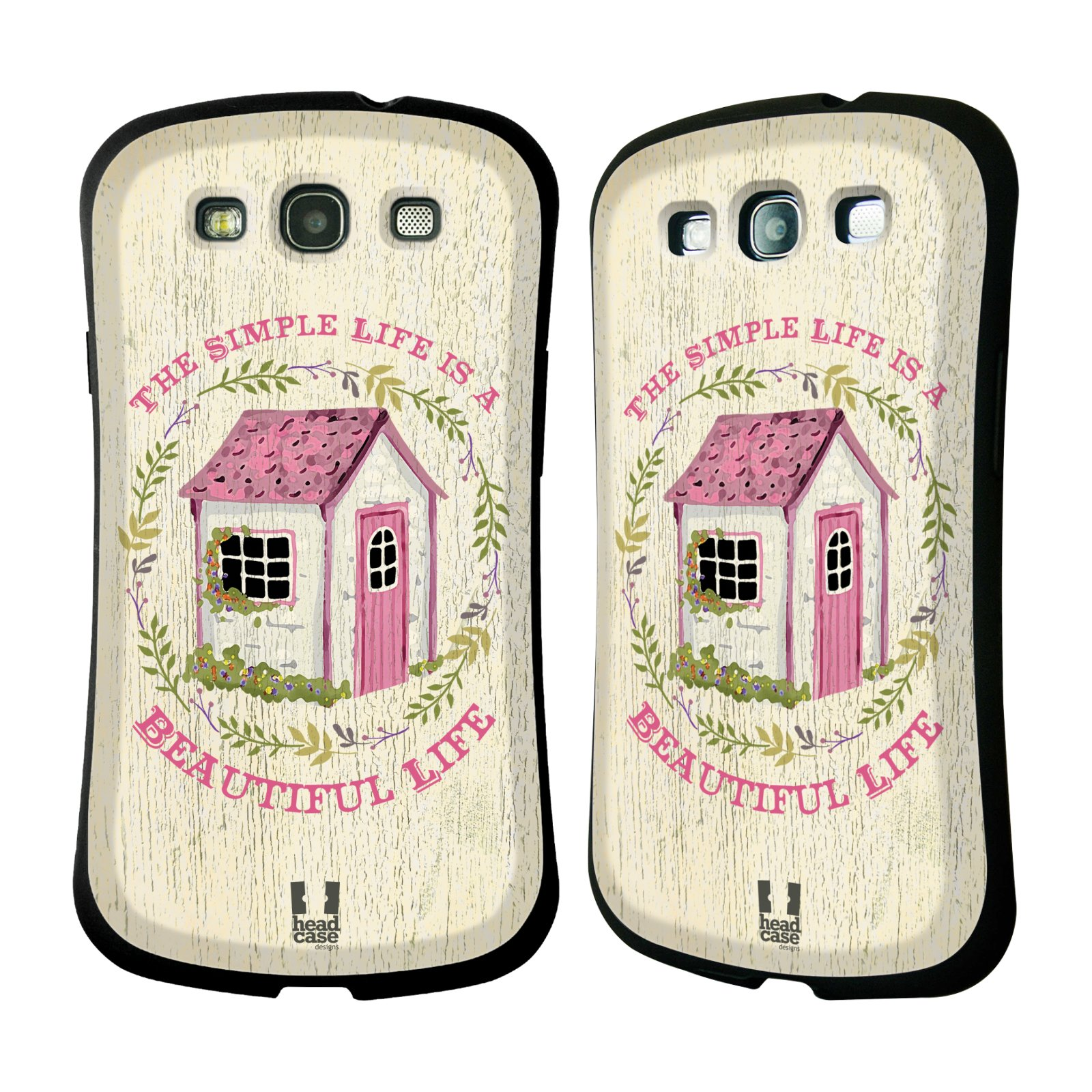 HEAD CASE silikon/plast odolný obal na mobil Samsung Galaxy S3 vzor Barevný venkov, vintage RŮŽOVÁ CHATIČKA