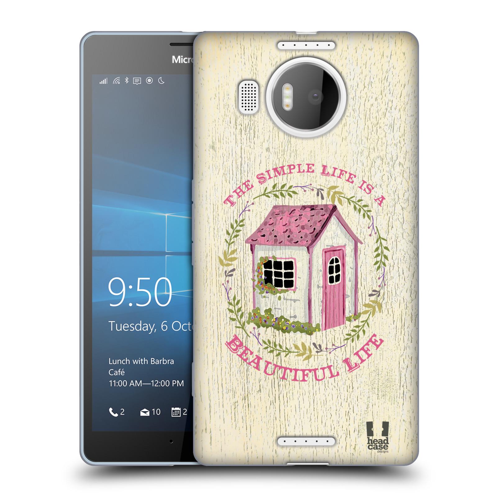 HEAD CASE silikonový obal na mobil NOKIA LUMIA 950 XL / LUMIA 950 XL DUAL SIM vzor Barevný venkov, vintage RŮŽOVÁ CHATIČKA