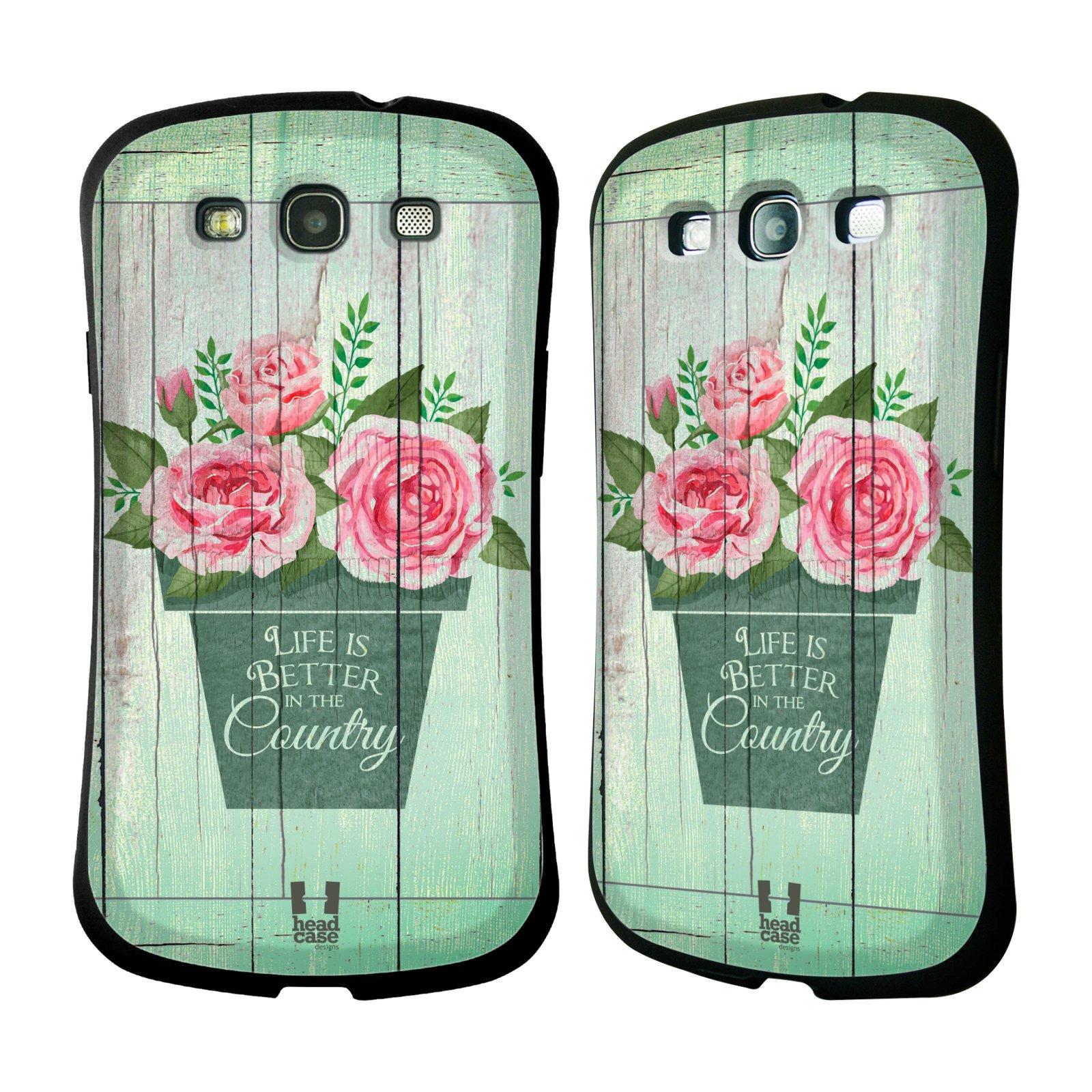 HEAD CASE silikon/plast odolný obal na mobil Samsung Galaxy S3 vzor Barevný venkov, vintage RŮŽE