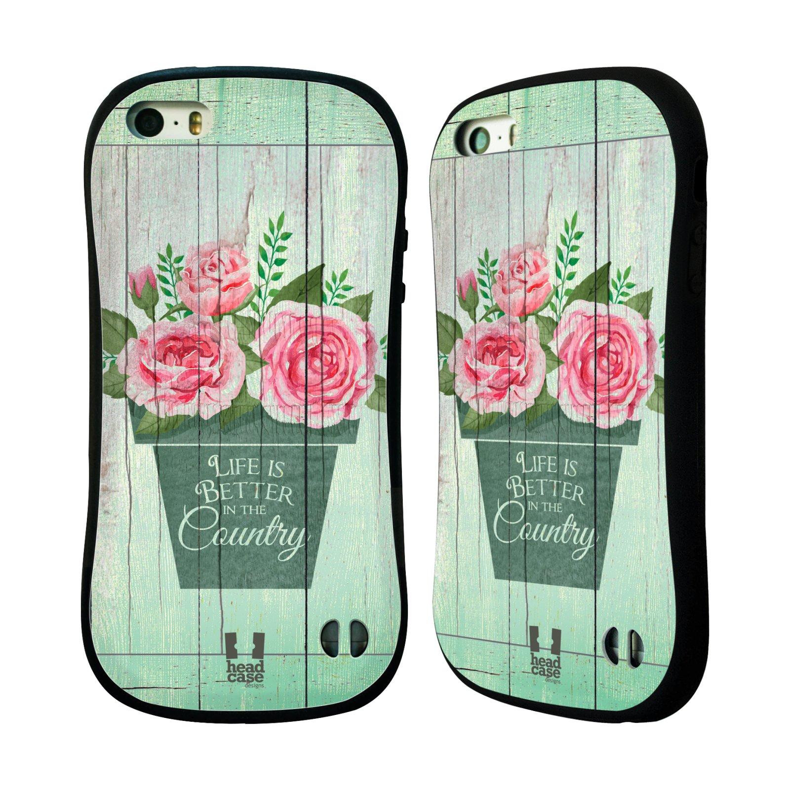 HEAD CASE silikon/plast odolný obal na mobil Apple Iphone 5/5S vzor Barevný venkov, vintage RŮŽE