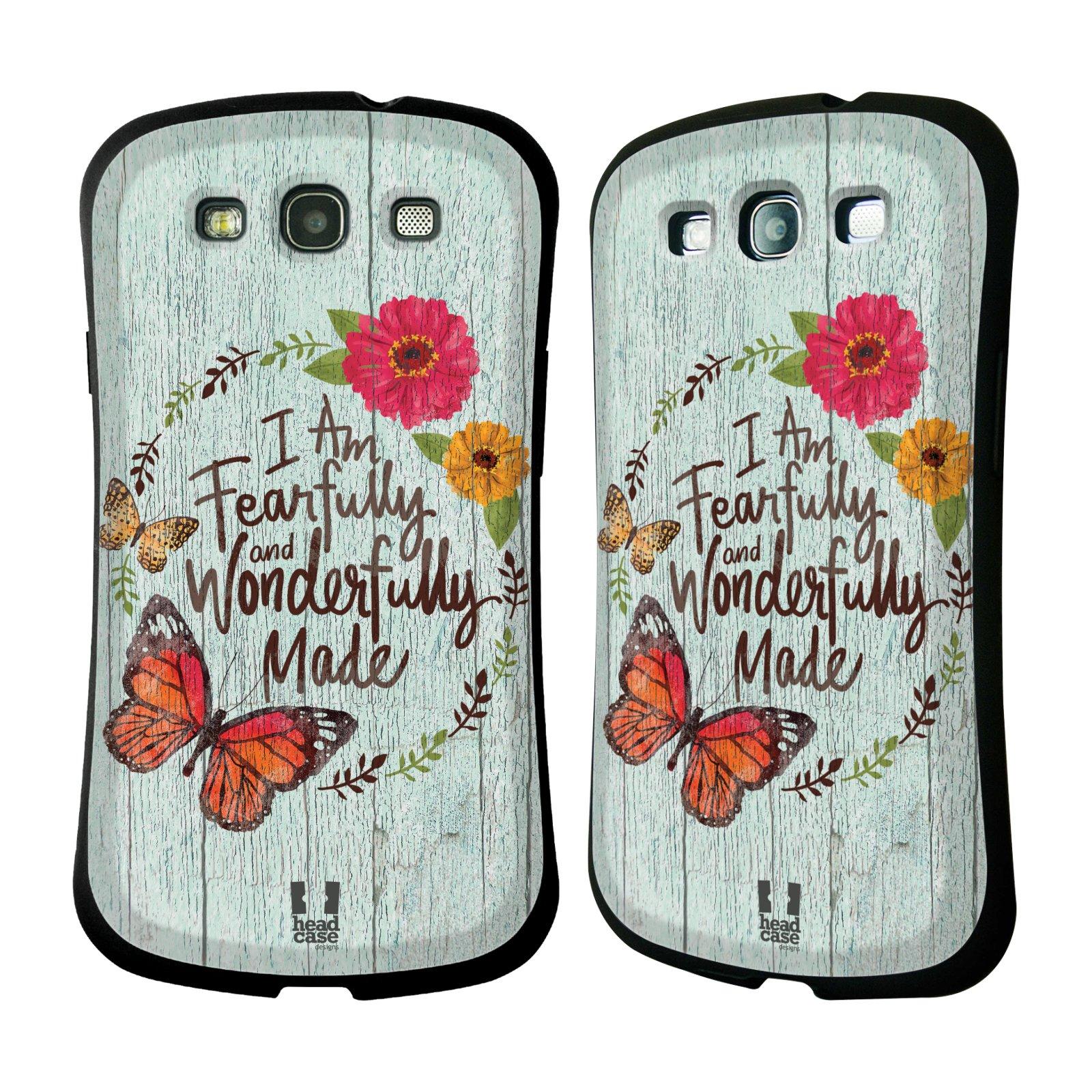 HEAD CASE silikon/plast odolný obal na mobil Samsung Galaxy S3 vzor Barevný venkov, vintage MODRÁ, KYTICE