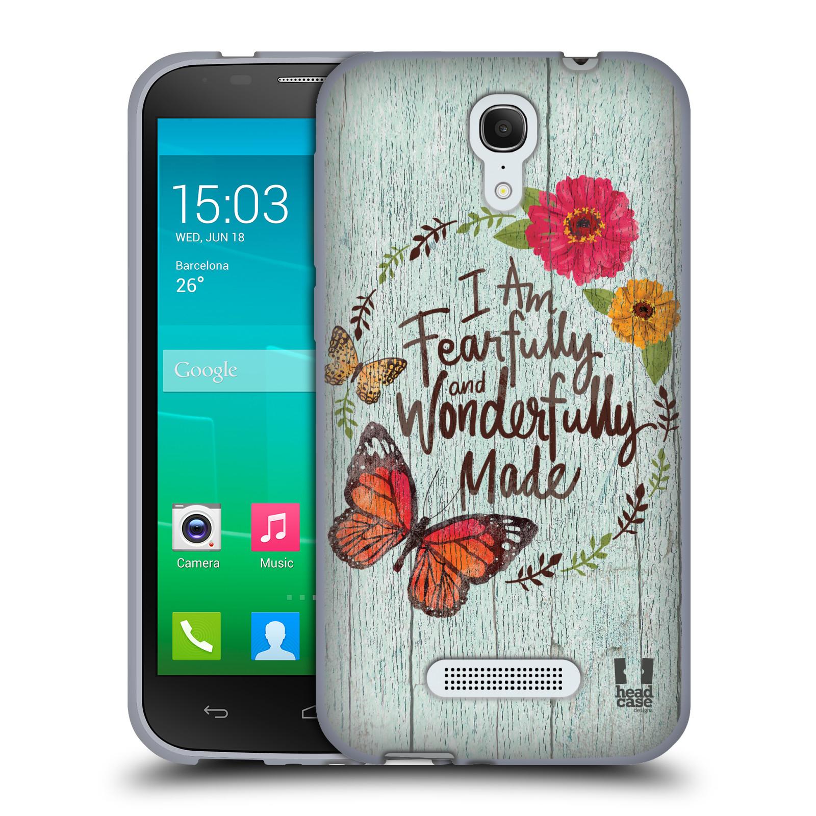 HEAD CASE silikonový obal na mobil Alcatel POP S7 vzor Barevný venkov, vintage MODRÁ, KYTICE