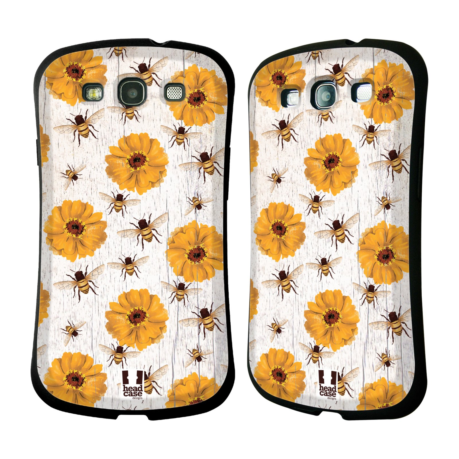 HEAD CASE silikon/plast odolný obal na mobil Samsung Galaxy S3 vzor Barevný venkov, vintage KVĚTY A VČELKY ŽLUTÁ