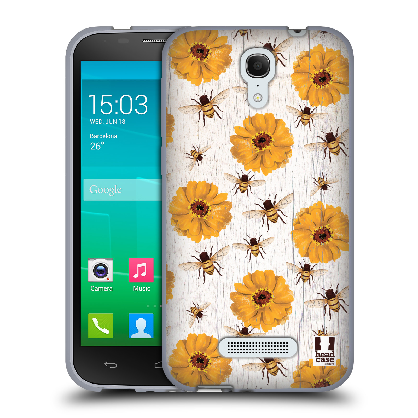 HEAD CASE silikonový obal na mobil Alcatel POP S7 vzor Barevný venkov, vintage KVĚTY A VČELKY ŽLUTÁ