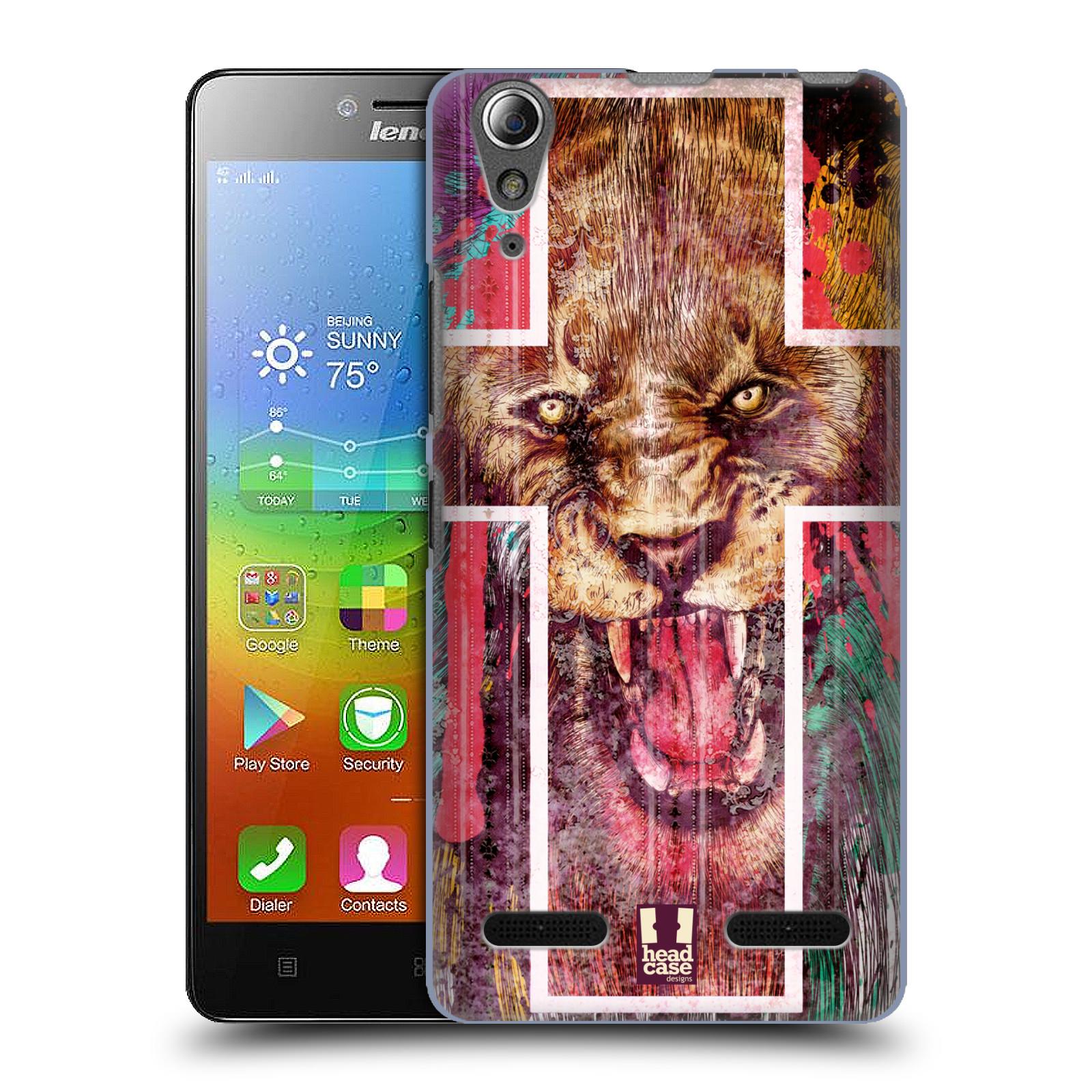 HEAD CASE pevný plastový obal na mobil LENOVO A6000 / A6000 PLUS vzor Kříž a lev