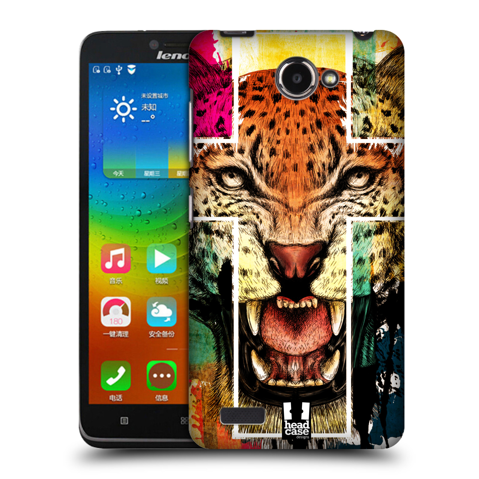 HEAD CASE pevný plastový obal na mobil LENOVO A768T vzor Kříž a leopard