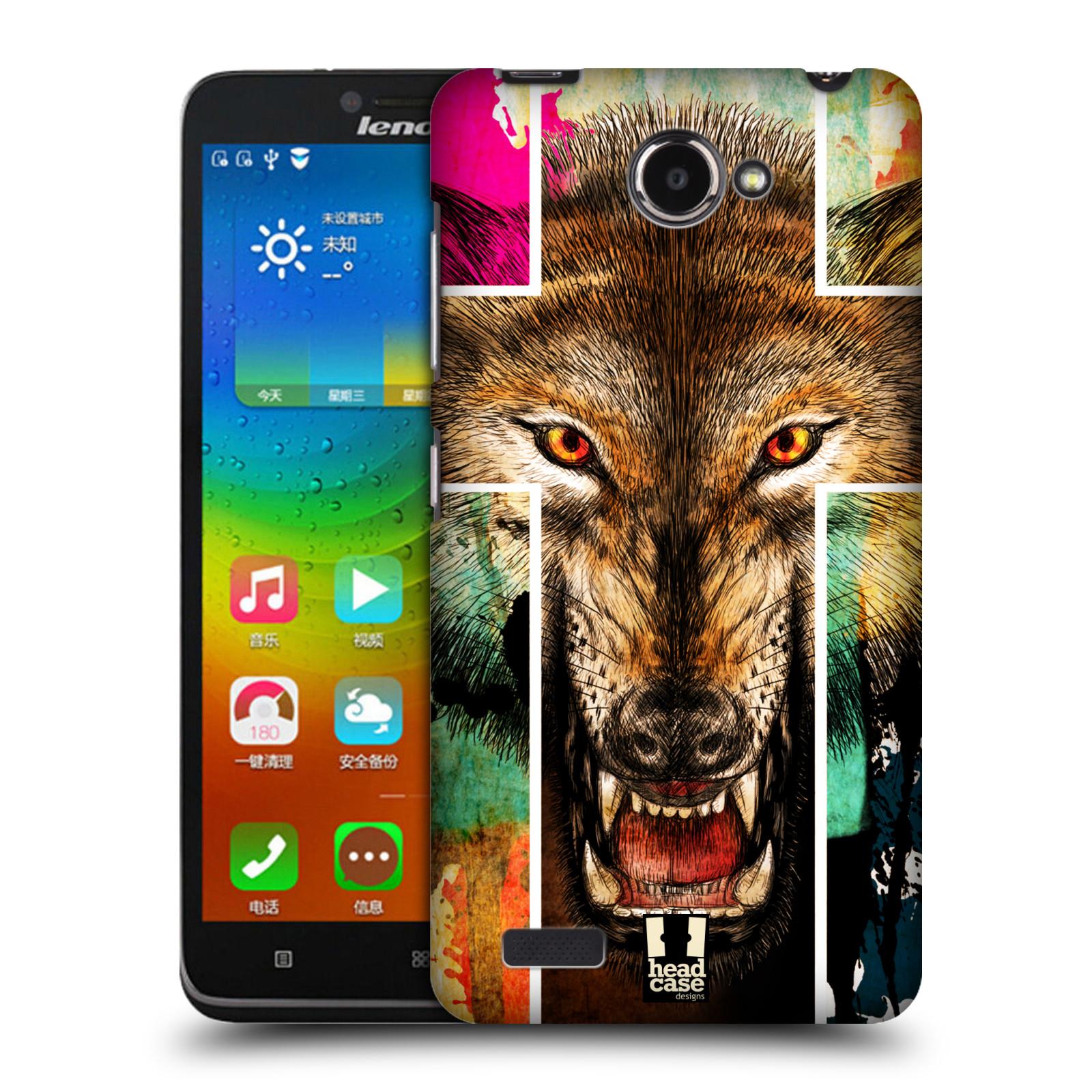HEAD CASE pevný plastový obal na mobil LENOVO A768T vzor Kříž a vlk