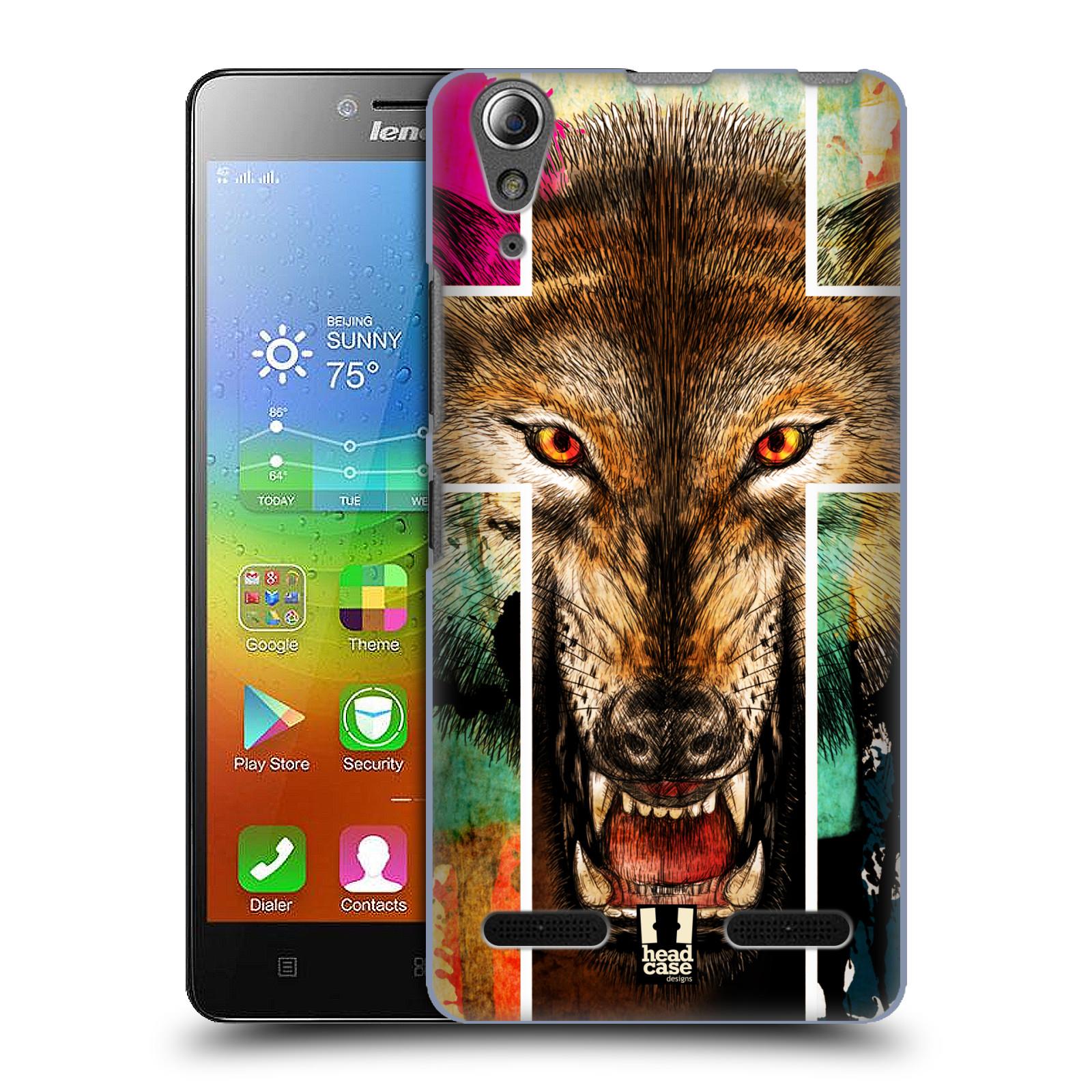 HEAD CASE pevný plastový obal na mobil LENOVO A6000 / A6000 PLUS vzor Kříž a vlk