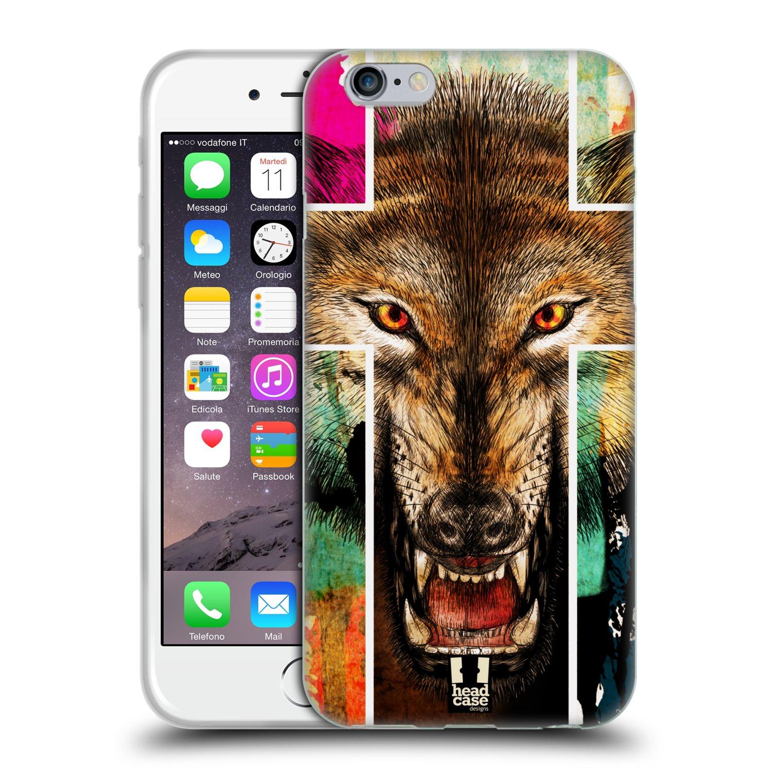 HEAD CASE silikonový obal na mobil Apple Iphone 6/6S vzor Kříž a vlk