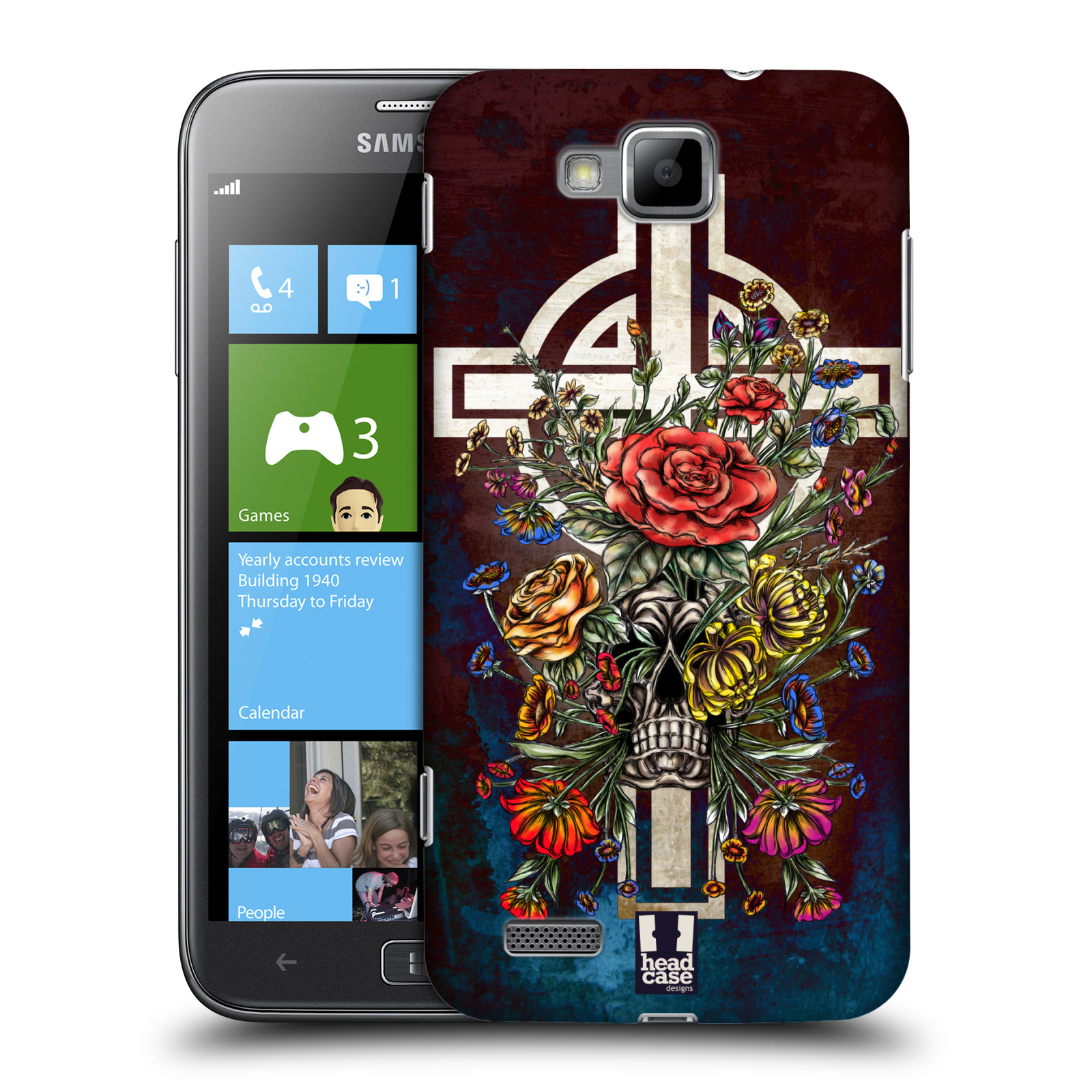 HEAD CASE plastový obal na mobil Samsung ATIV S vzor Kříž Cross KVĚTINA LEBKA