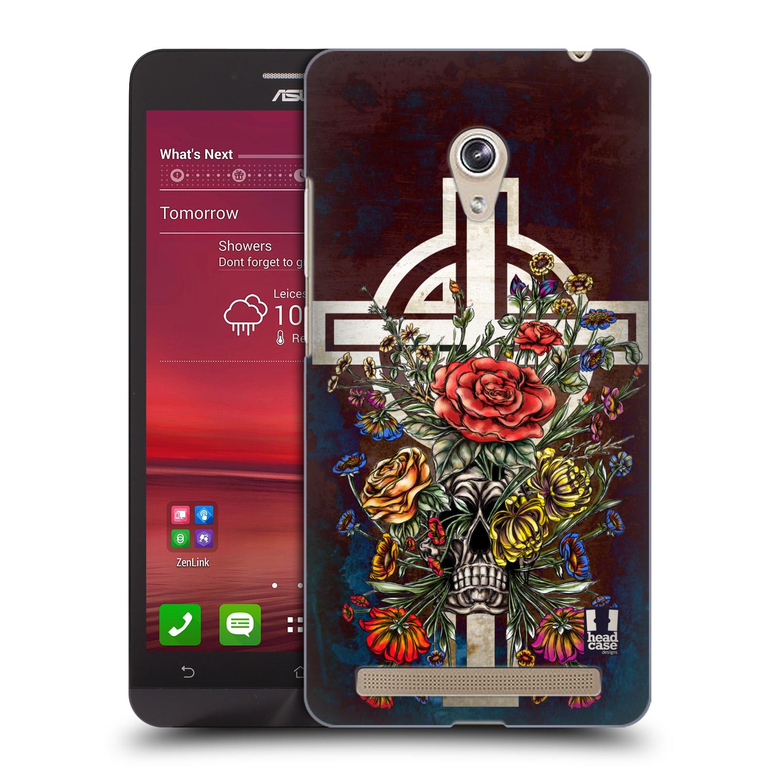 HEAD CASE plastový obal na mobil Asus Zenfone 6 vzor Kříž Cross KVĚTINA LEBKA